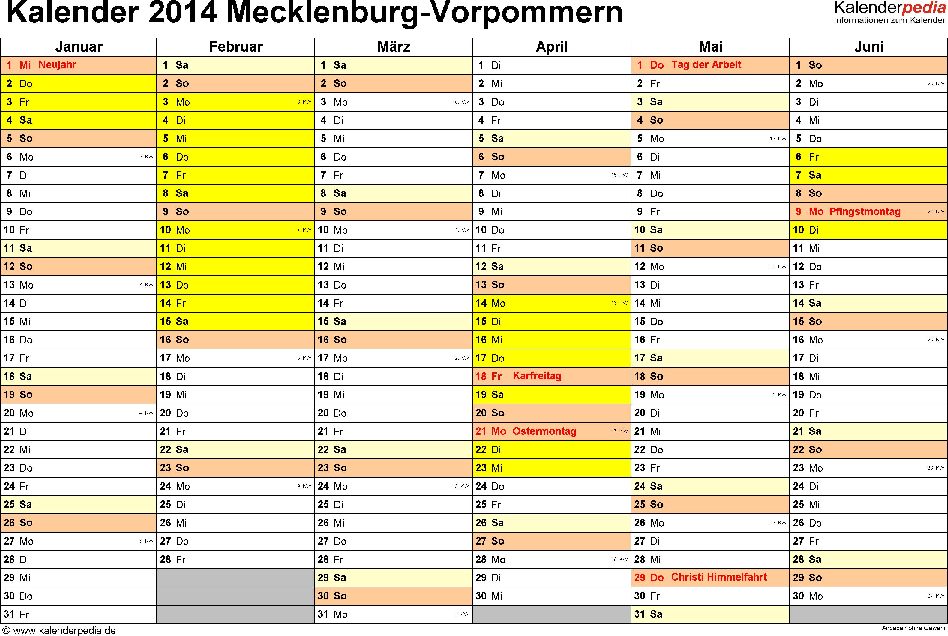 Vorlage 2: Kalender 2014 für Mecklenburg-Vorpommern als Word-Vorlagen (Querformat, 2 Seiten)