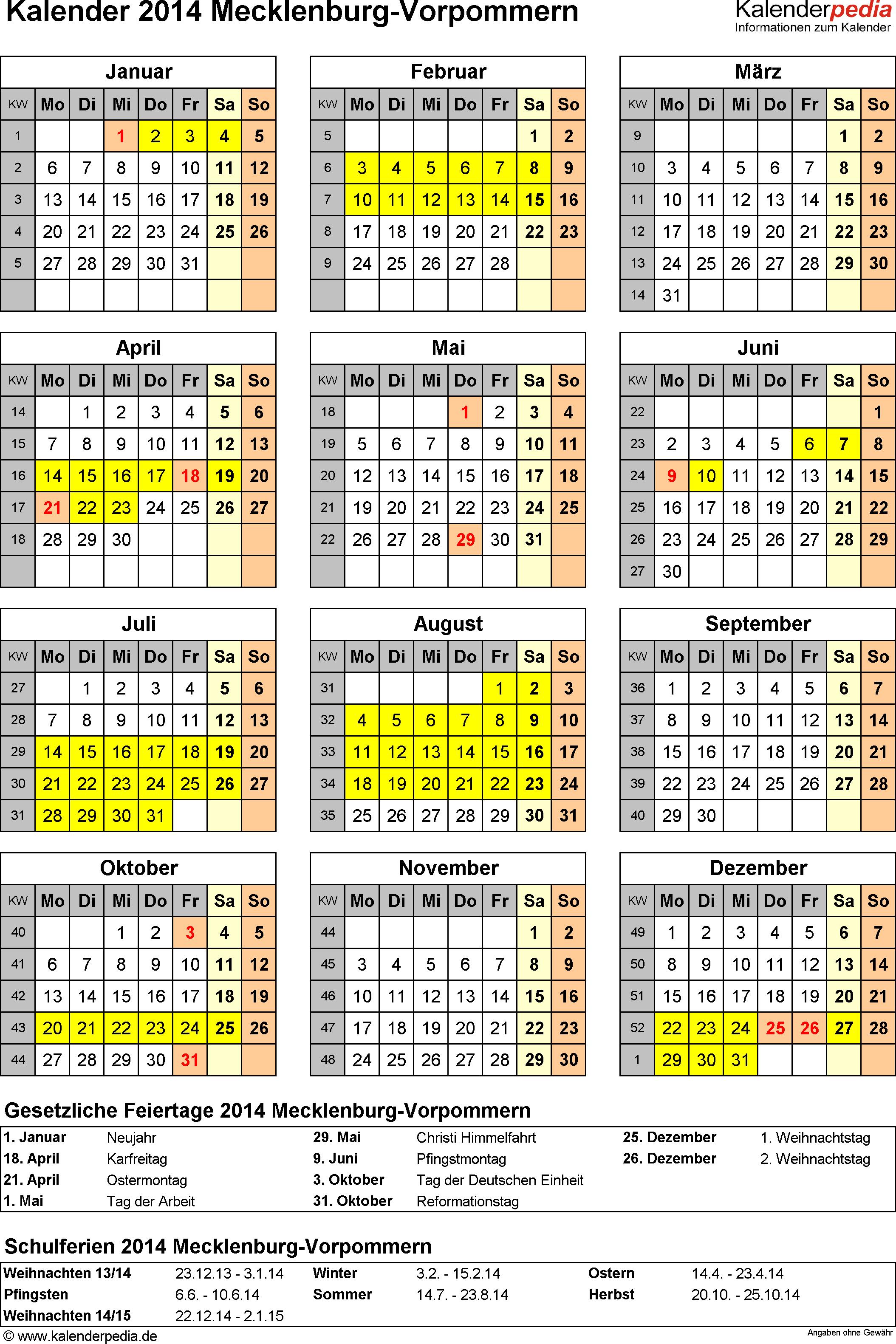 Vorlage 4: Kalender Mecklenburg-Vorpommern 2014 als Word-Vorlage (Hochformat)