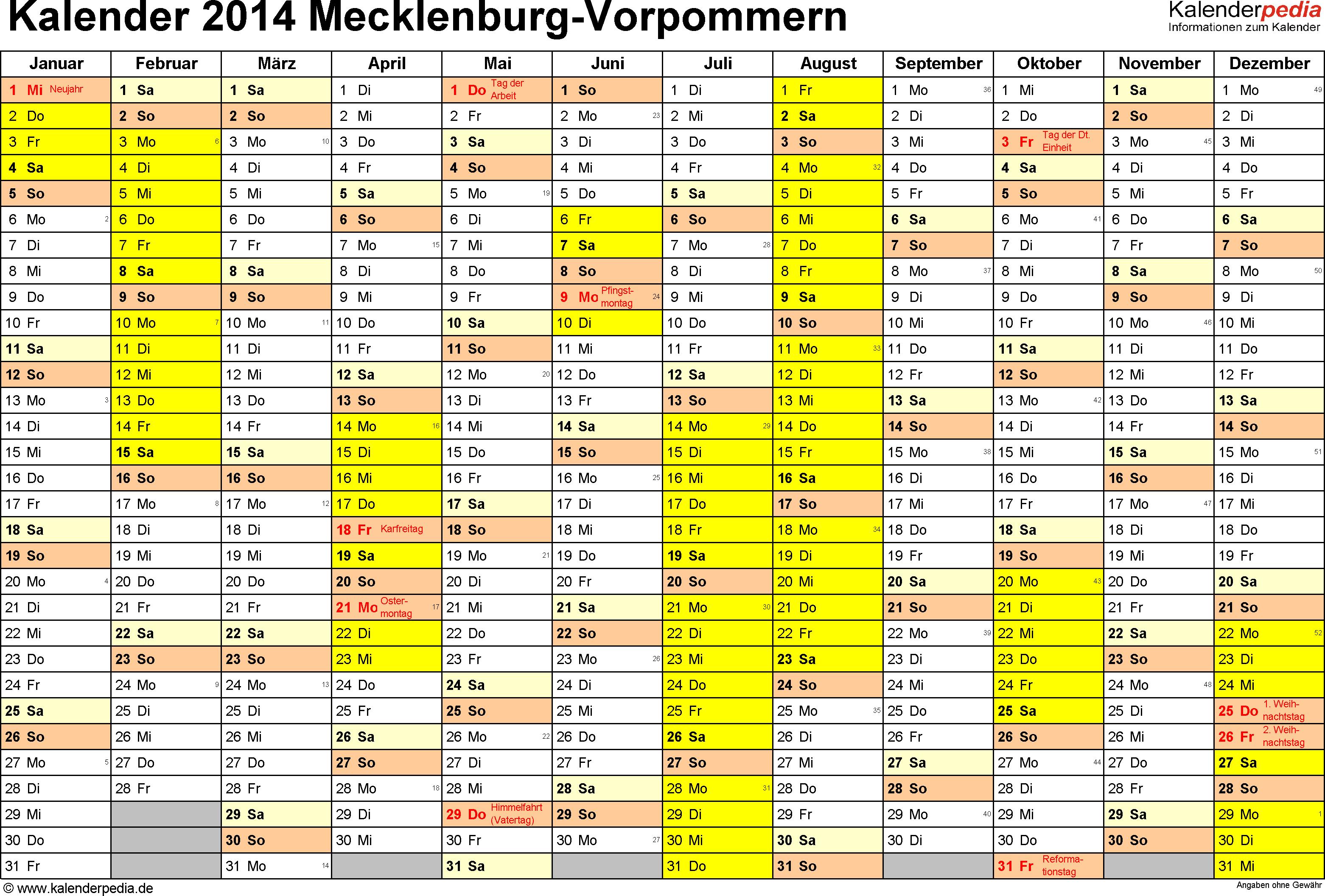 Vorlage 1: Kalender 2014 für Mecklenburg-Vorpommern als PDF-Vorlage (Querformat, 1 Seite)