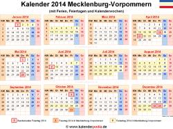 Kalender 2014 Mecklenburg-Vorpommern