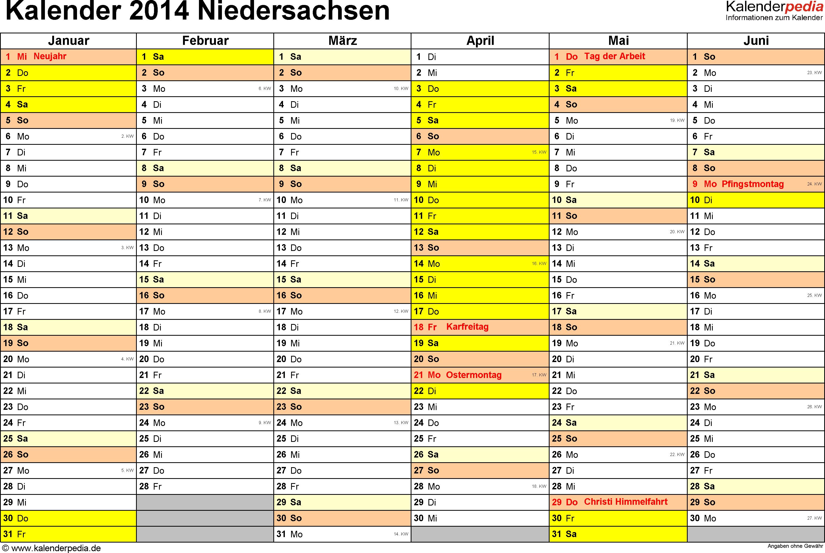 Vorlage 2: Kalender 2014 für Niedersachsen als Excel-Vorlagen (Querformat, 2 Seiten)