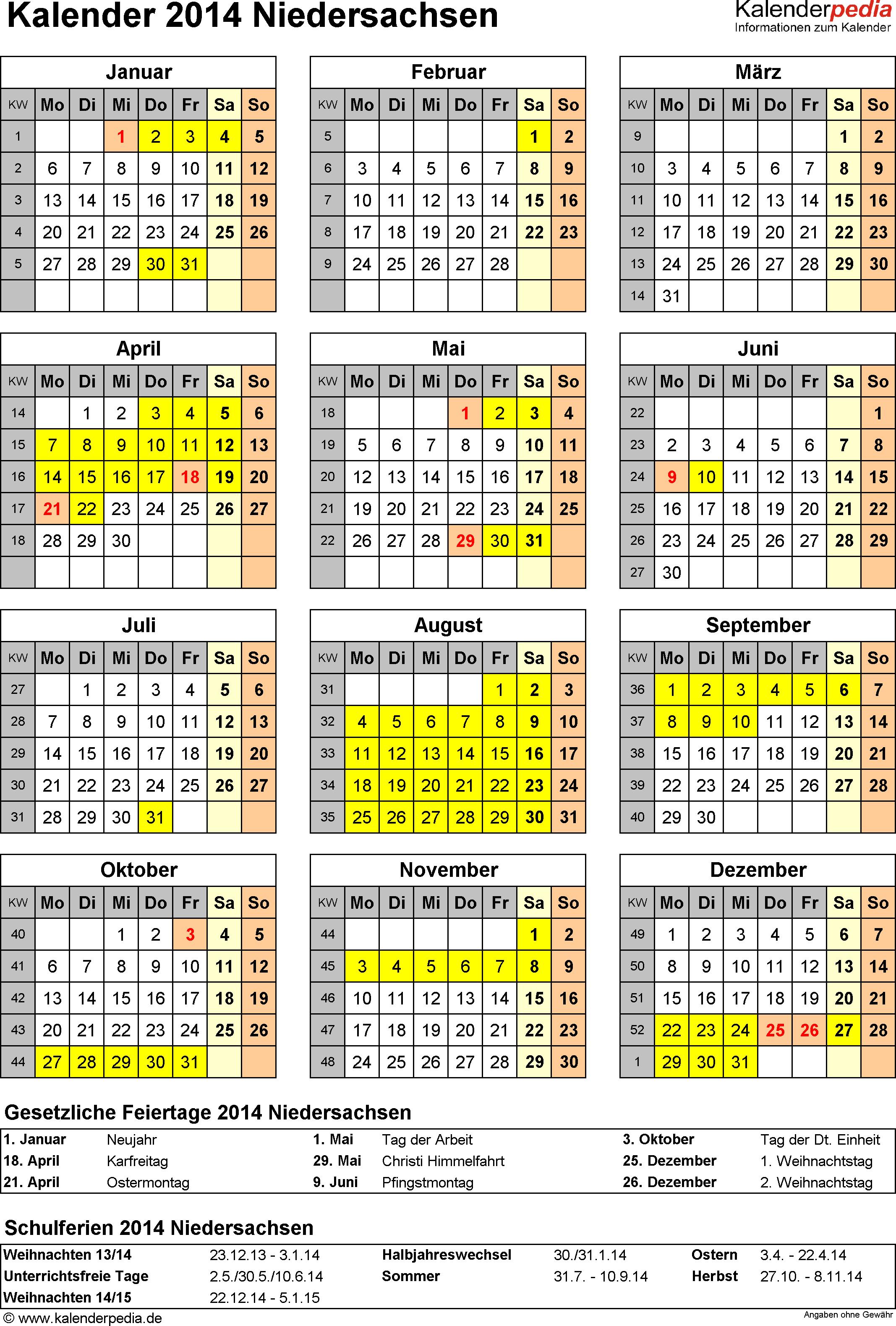 Vorlage 4: Kalender Niedersachsen 2014 als Excel-Vorlage (Hochformat)