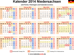 Kalender 2014 Niedersachsen