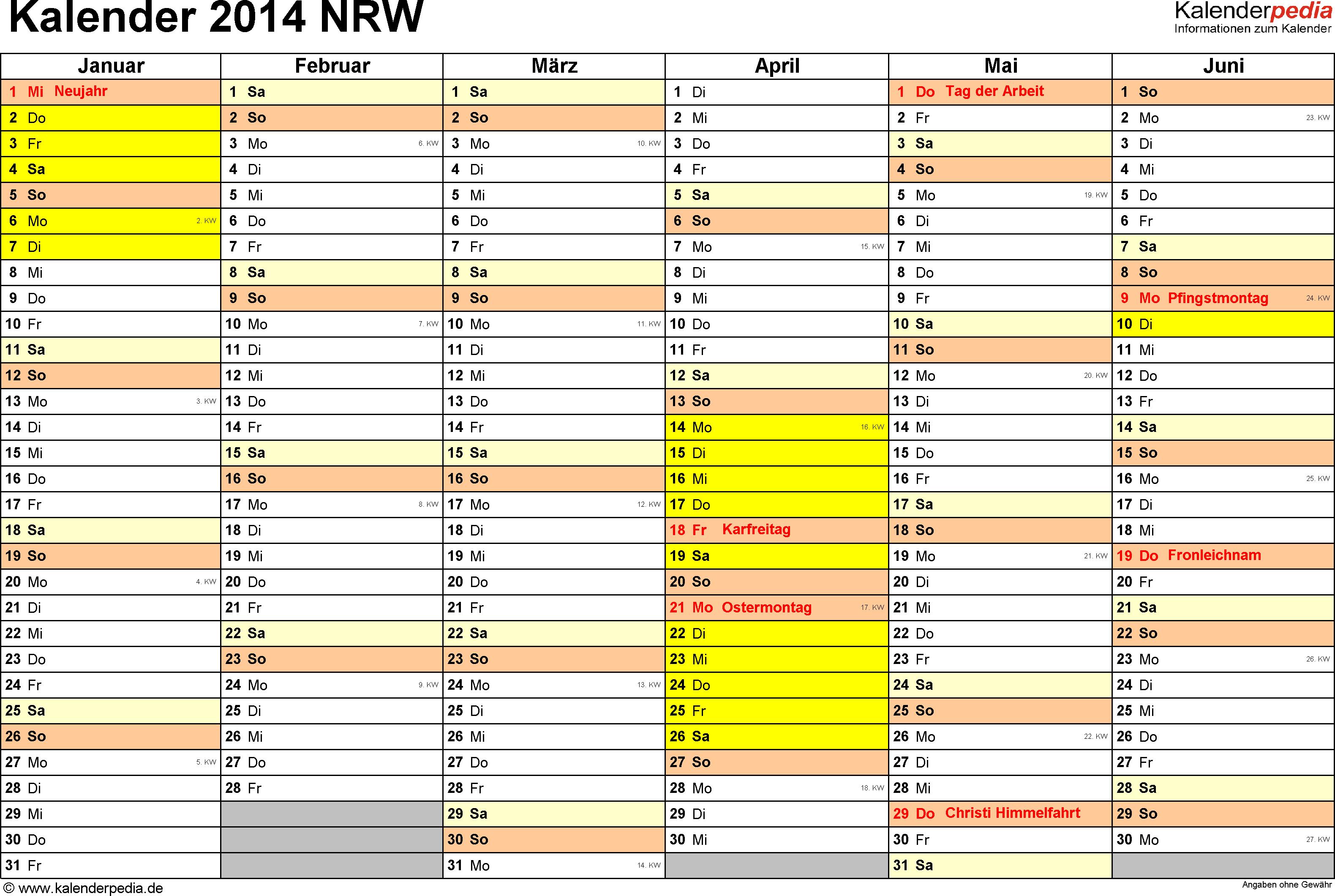 Vorlage 2: Kalender 2014 für Nordrhein-Westfalen (NRW) als Excel-Vorlagen (Querformat, 2 Seiten)