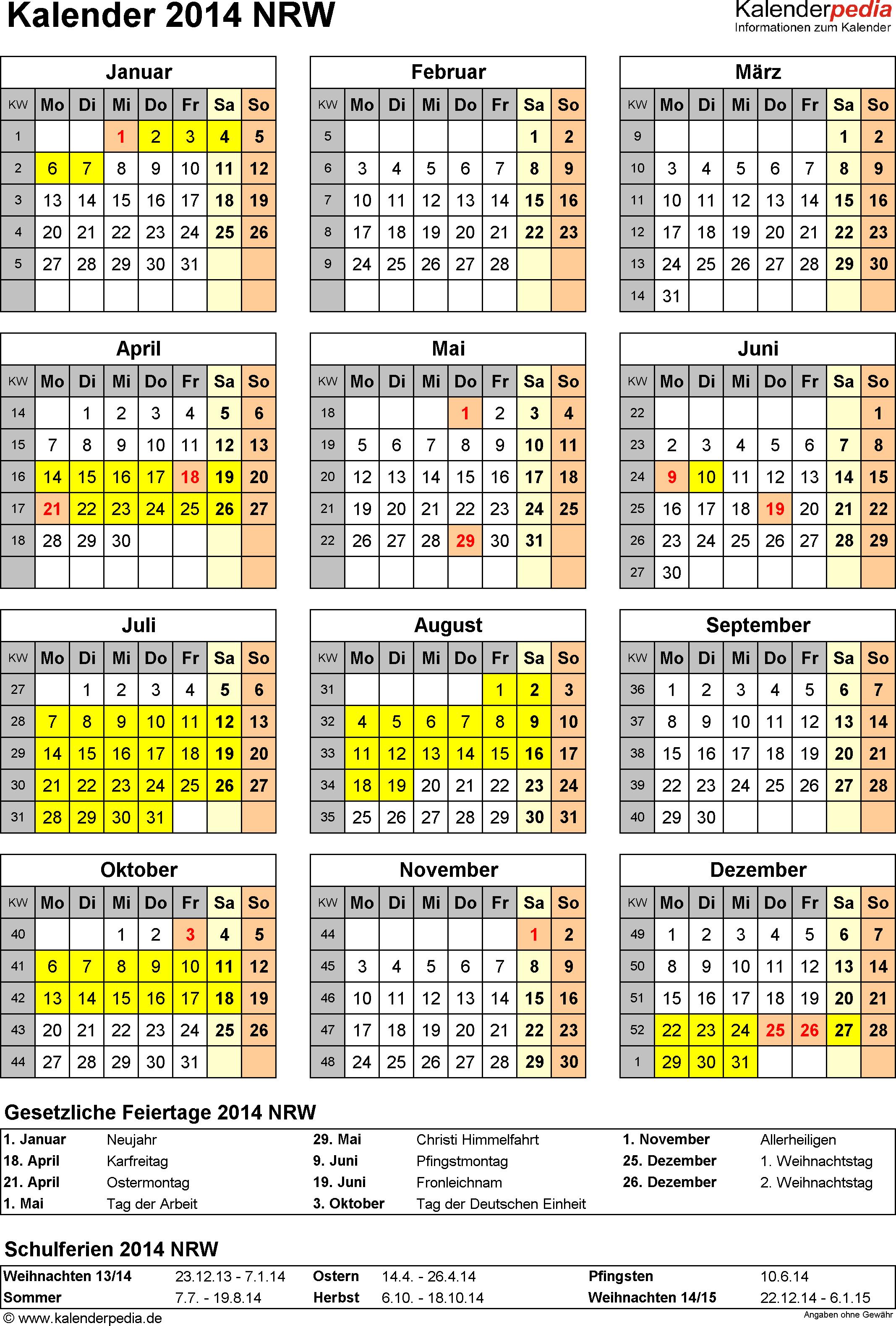 Vorlage 4: Kalender Nordrhein-Westfalen (NRW) 2014 als Excel-Vorlage (Hochformat)