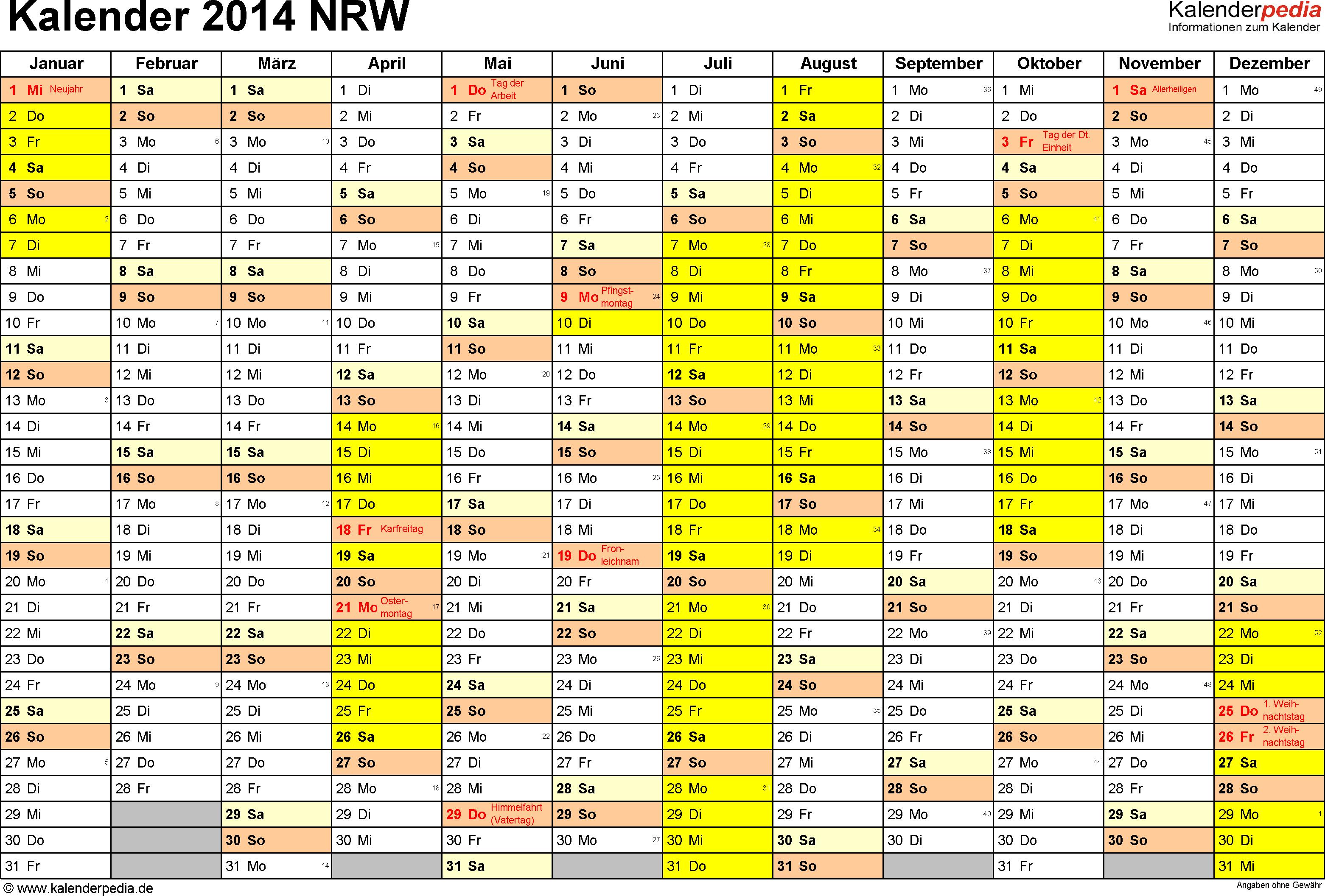 Vorlage 1: Kalender 2014 für Nordrhein-Westfalen (NRW) als Excel-Vorlage (Querformat, 1 Seite)