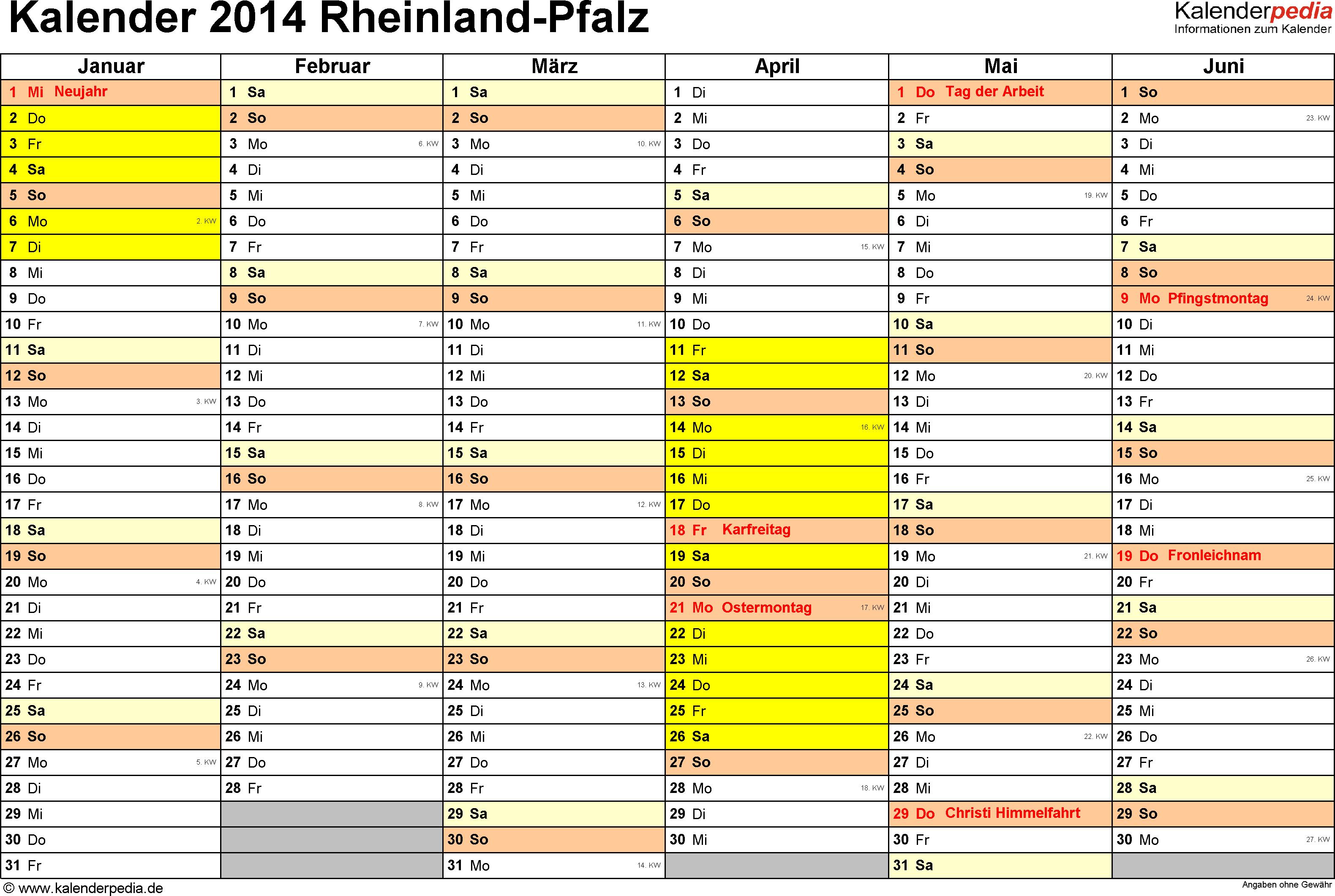 Vorlage 2: Kalender 2014 für Rheinland-Pfalz als Excel-Vorlage (Querformat, 2 Seiten)
