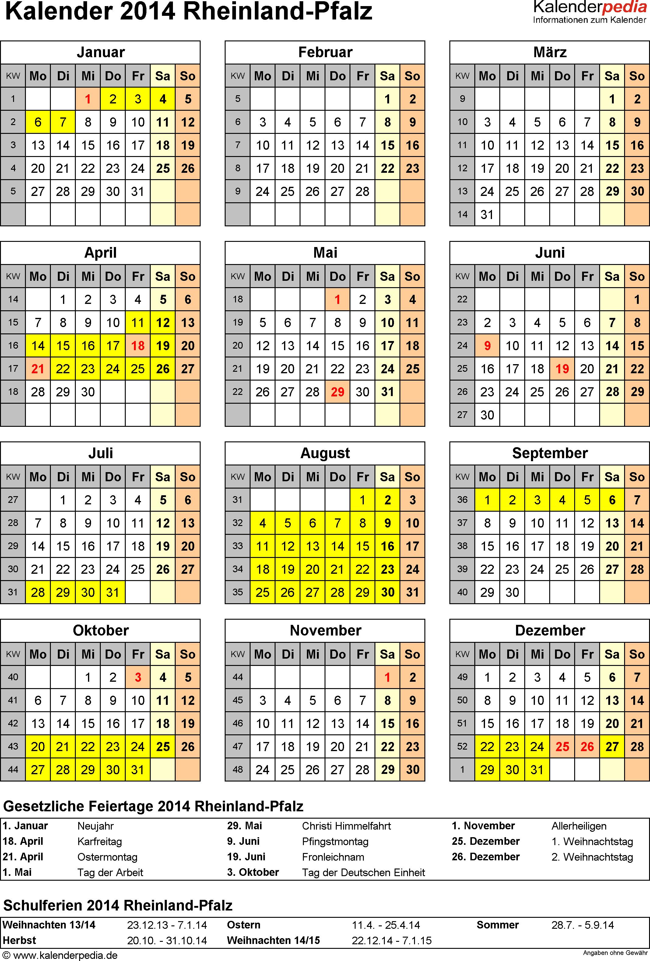 Vorlage 4: Kalender Rheinland-Pfalz 2014 als Word-Vorlage (Hochformat)