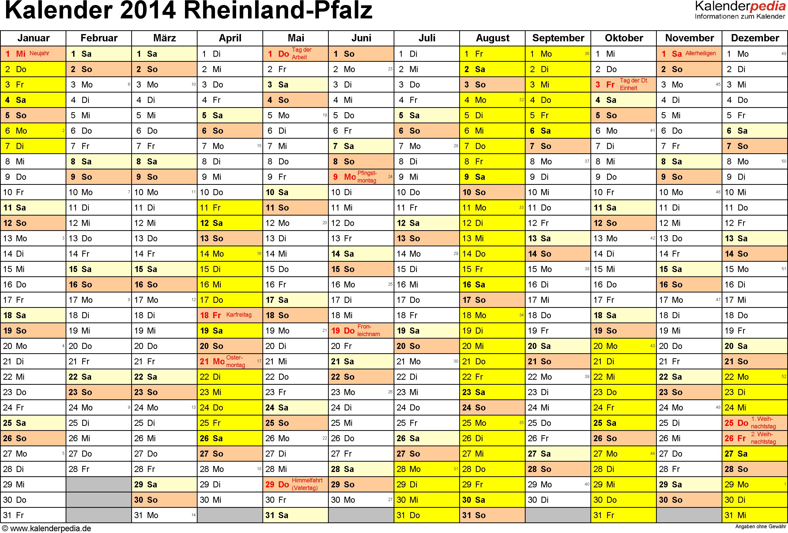 Vorlage 1: Kalender 2014 für Rheinland-Pfalz als Word-Vorlagen (Querformat, 1 Seite)