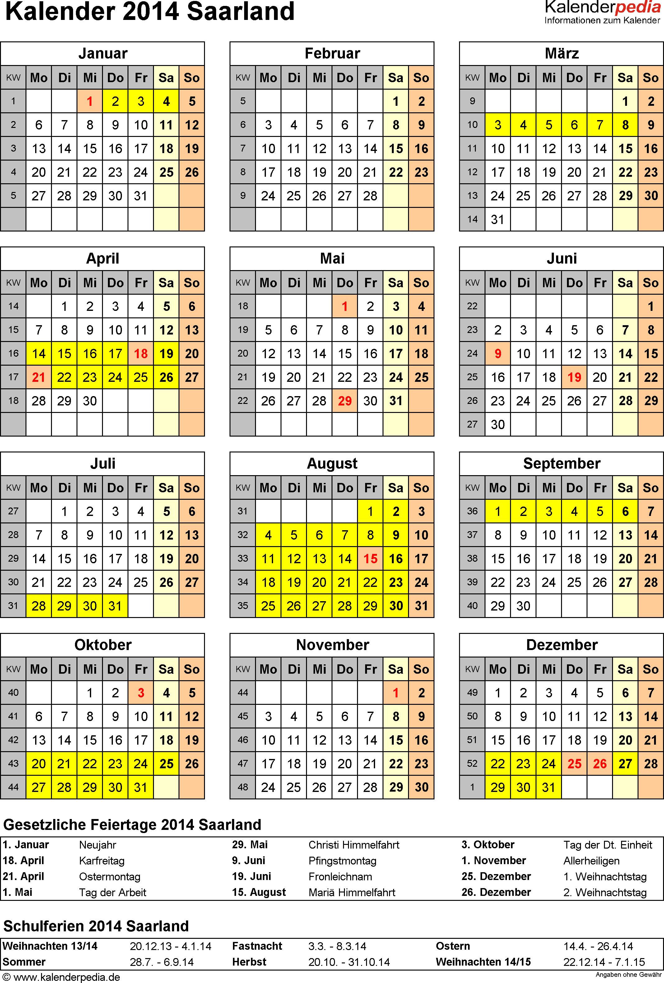 Vorlage 4: Kalender Saarland 2014 als Excel-Vorlage (Hochformat)