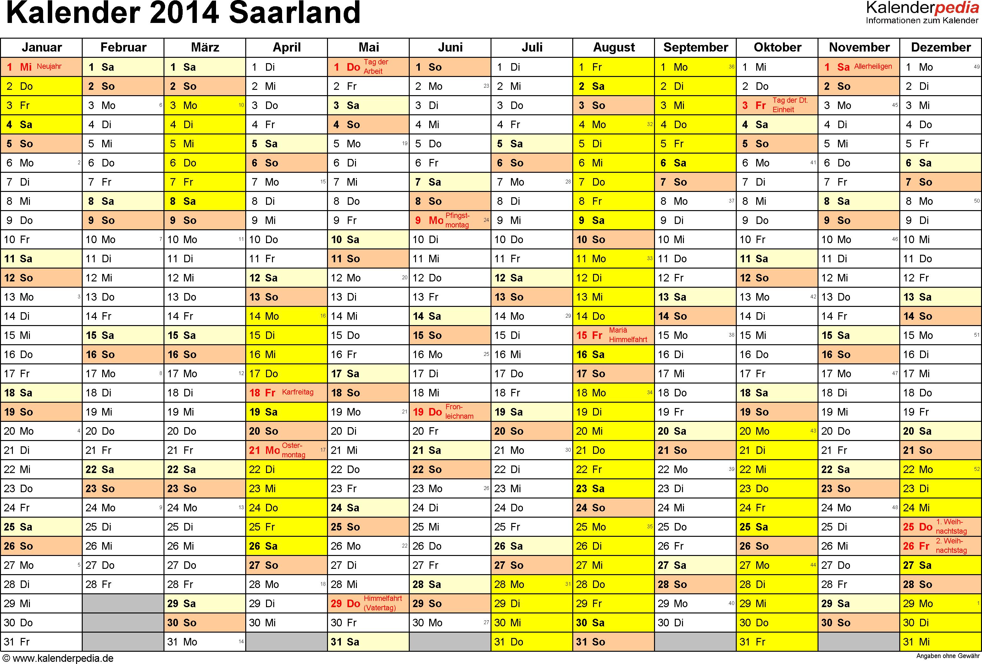 Vorlage 1: Kalender 2014 für Saarland als Excel-Vorlage (Querformat, 1 Seite)