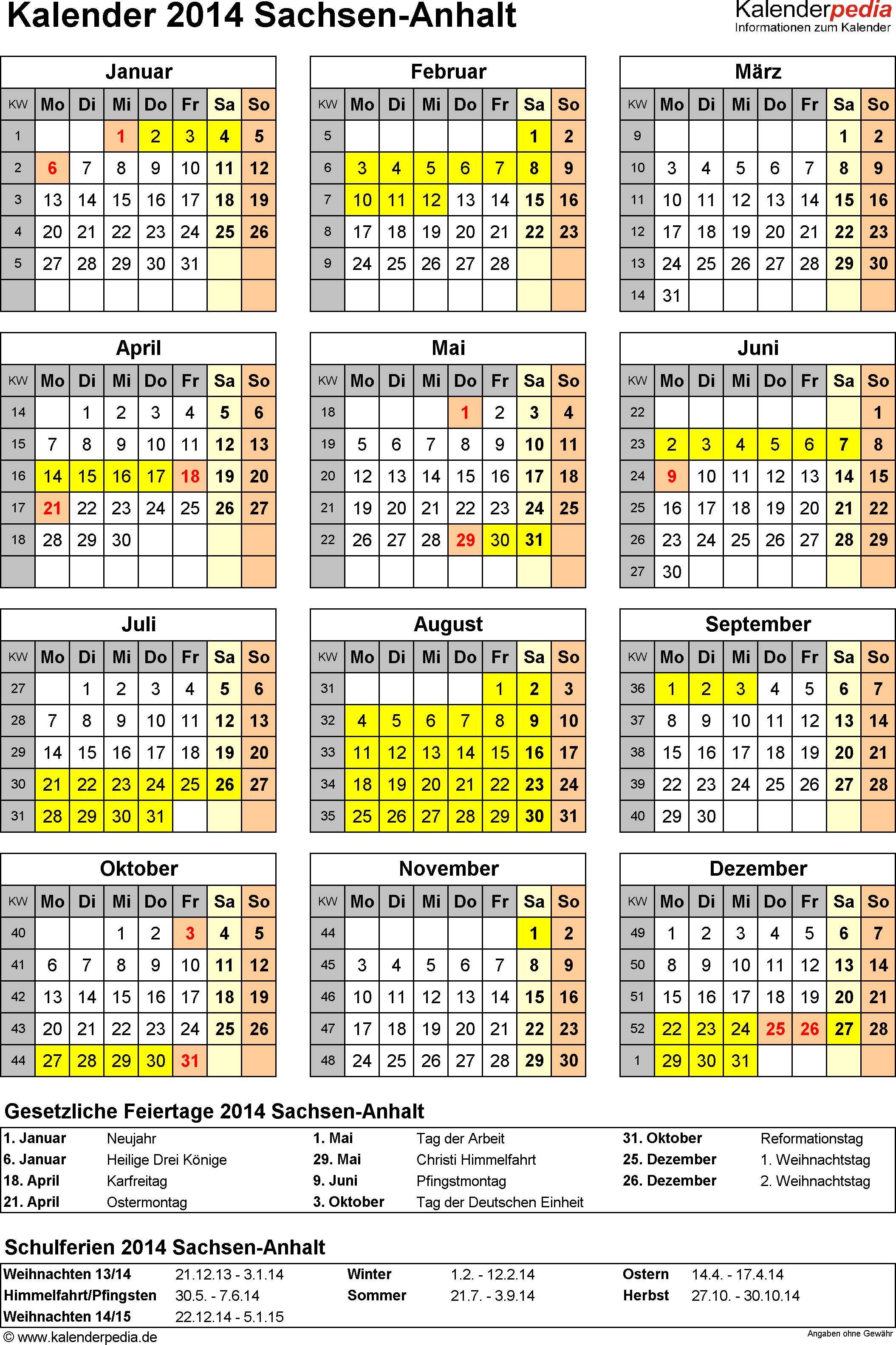 Vorlage 4: Kalender Sachsen-Anhalt 2014 als Excel-Vorlage (Hochformat)