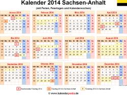Kalender 2014 Sachsen-Anhalt