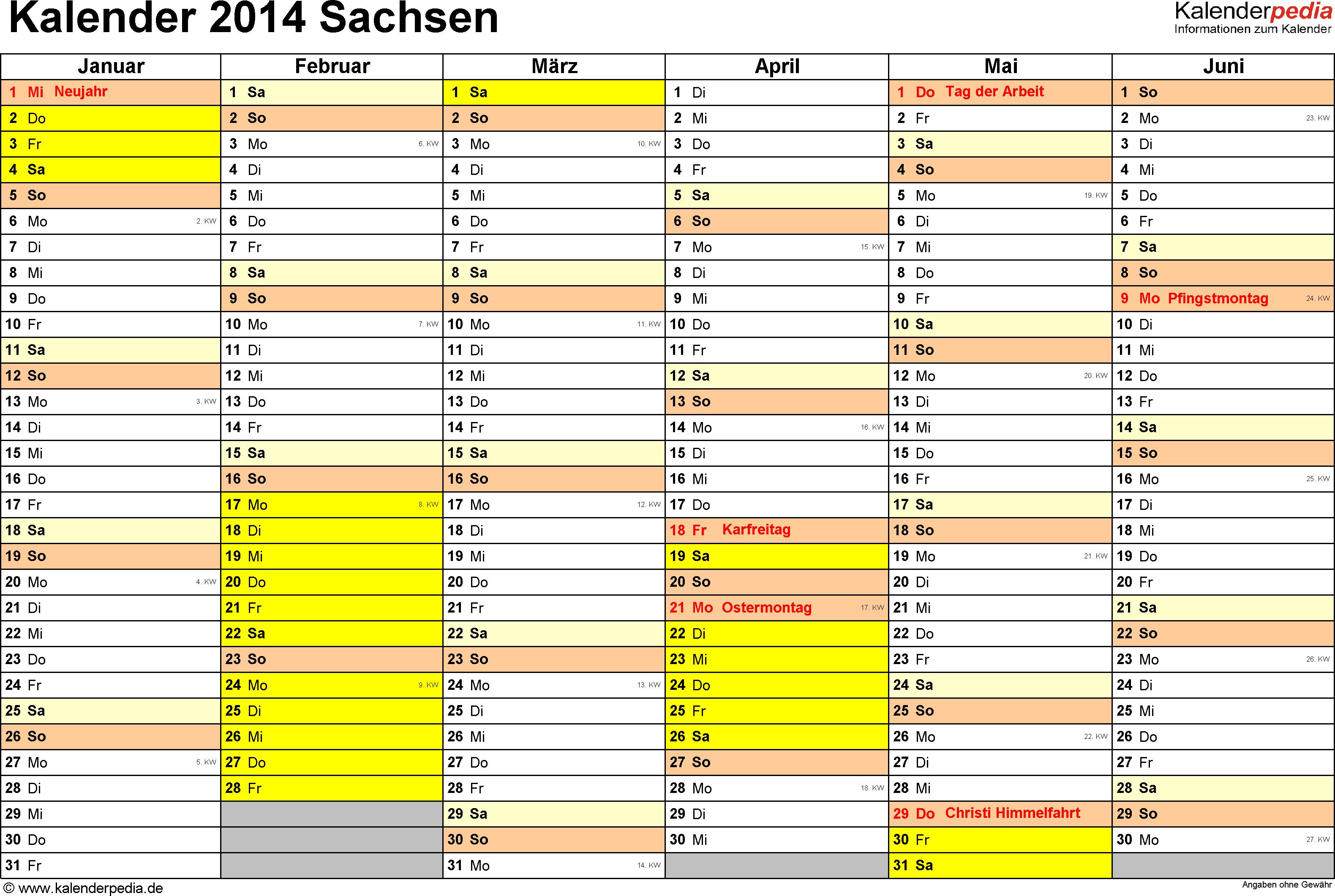 Vorlage 2: Kalender 2014 für Sachsen als Excel-Vorlage (Querformat, 2 Seiten)