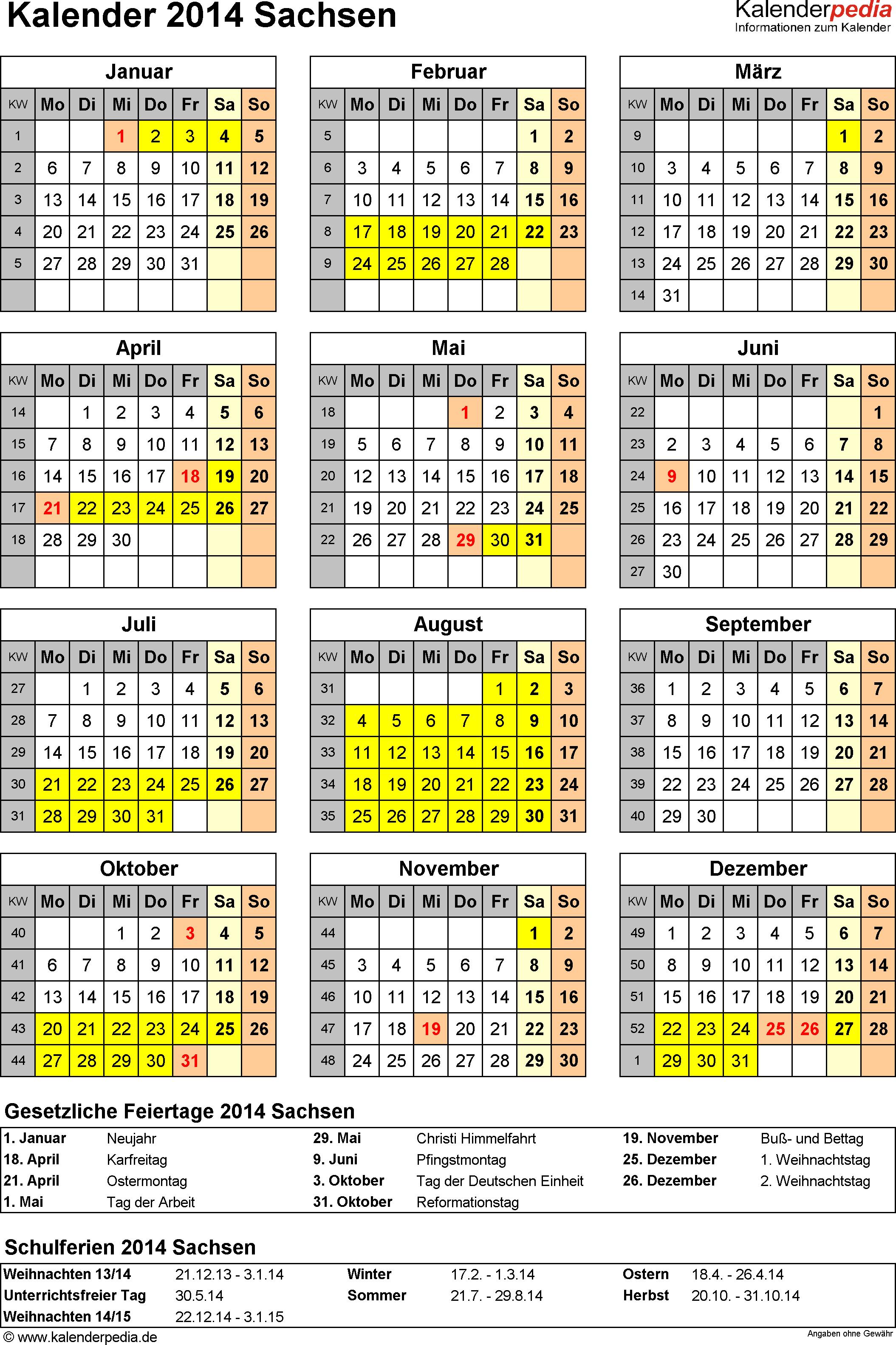Vorlage 4: Kalender Sachsen 2014 als Excel-Vorlage (Hochformat)