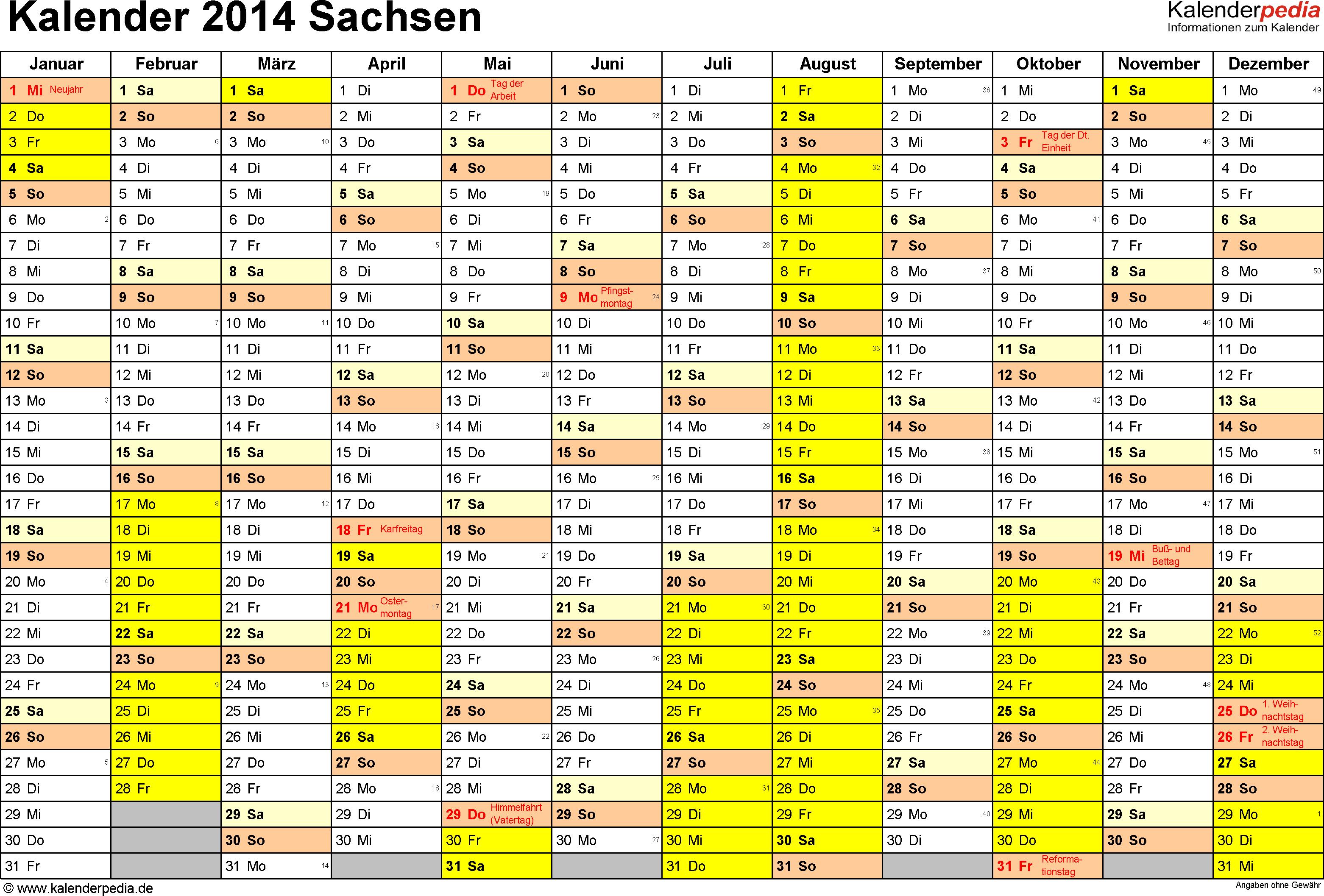 Vorlage 1: Kalender 2014 für Sachsen als Excel-Vorlage (Querformat, 1 Seite)