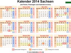 Kalender 2014 Sachsen