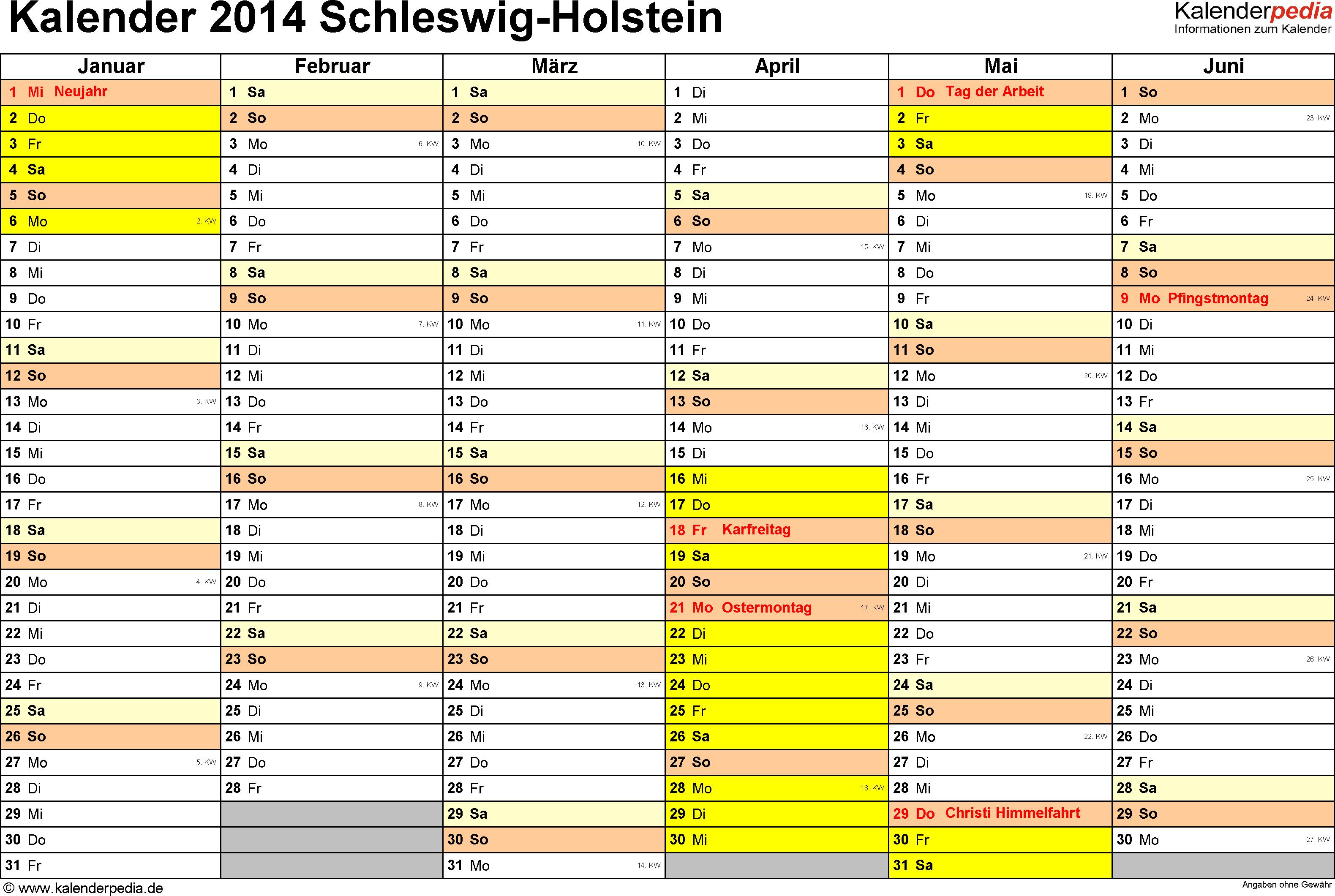 Vorlage 2: Kalender 2014 für Schleswig-Holstein als Excel-Vorlage (Querformat, 2 Seiten)