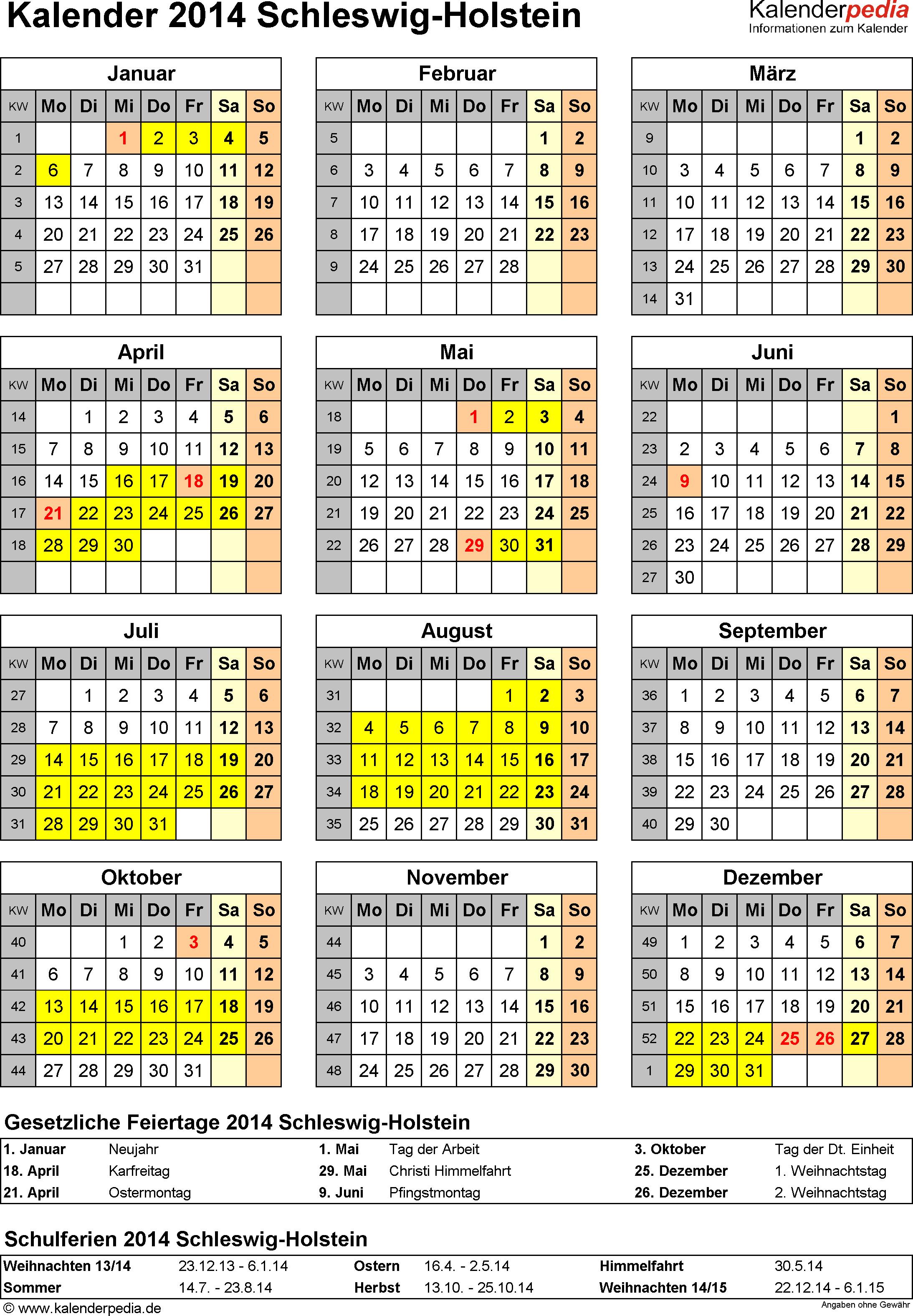 Vorlage 4: Kalender Schleswig-Holstein 2014 als Excel-Vorlage (Hochformat)