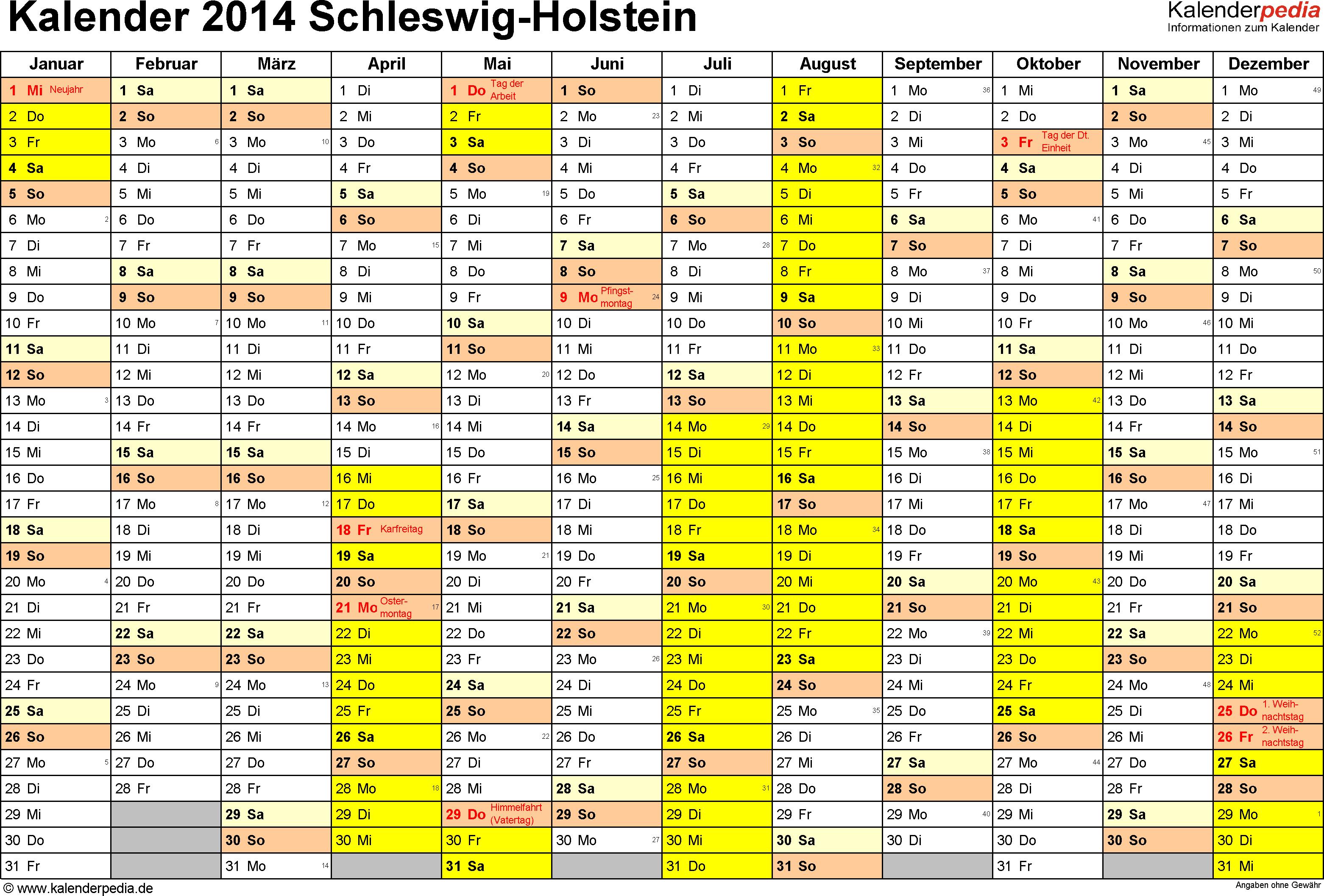 Vorlage 1: Kalender 2014 für Schleswig-Holstein als Excel-Vorlage (Querformat, 1 Seite)