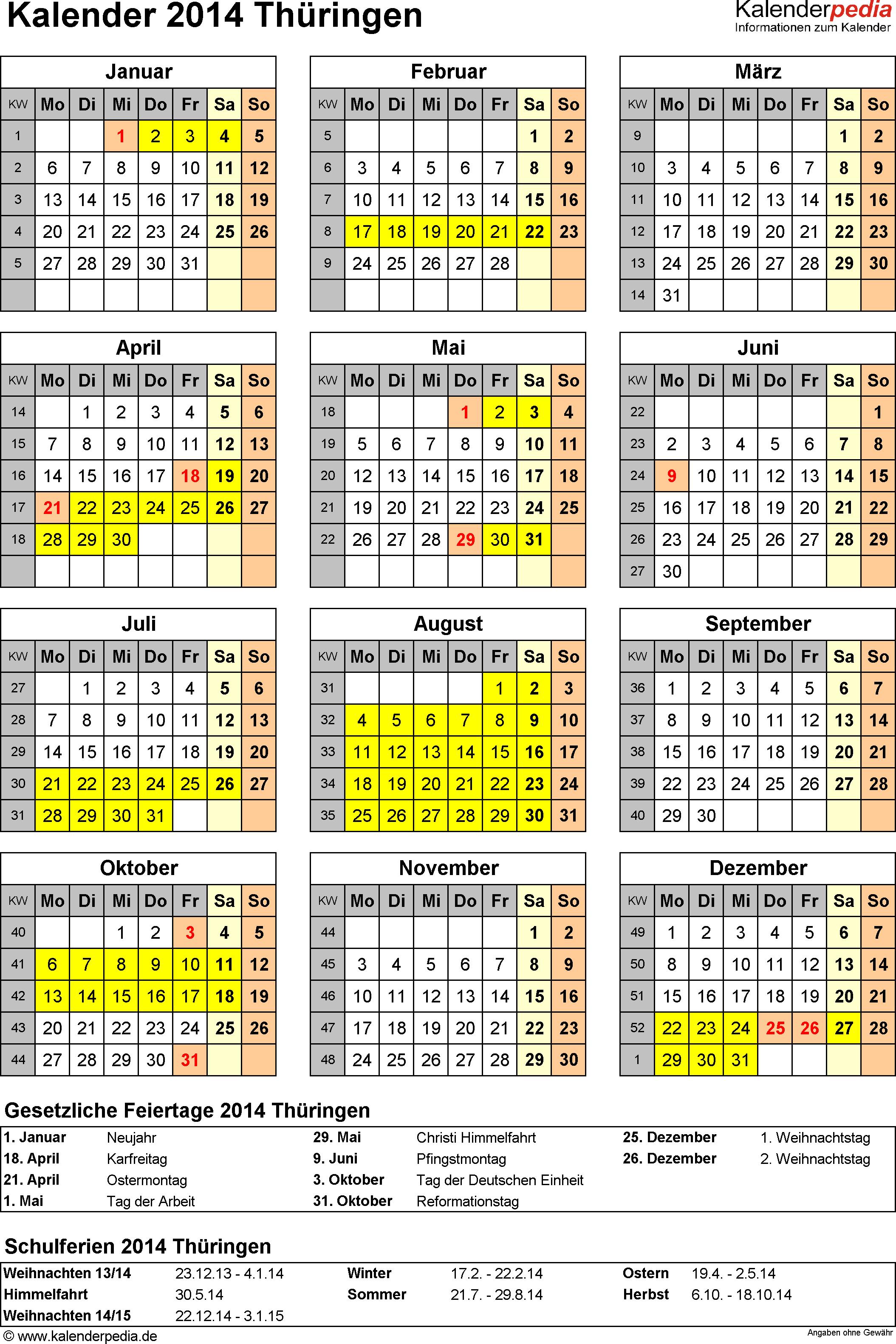 Vorlage 4: Kalender Th�ringen 2014 als Excel-Vorlage (Hochformat)