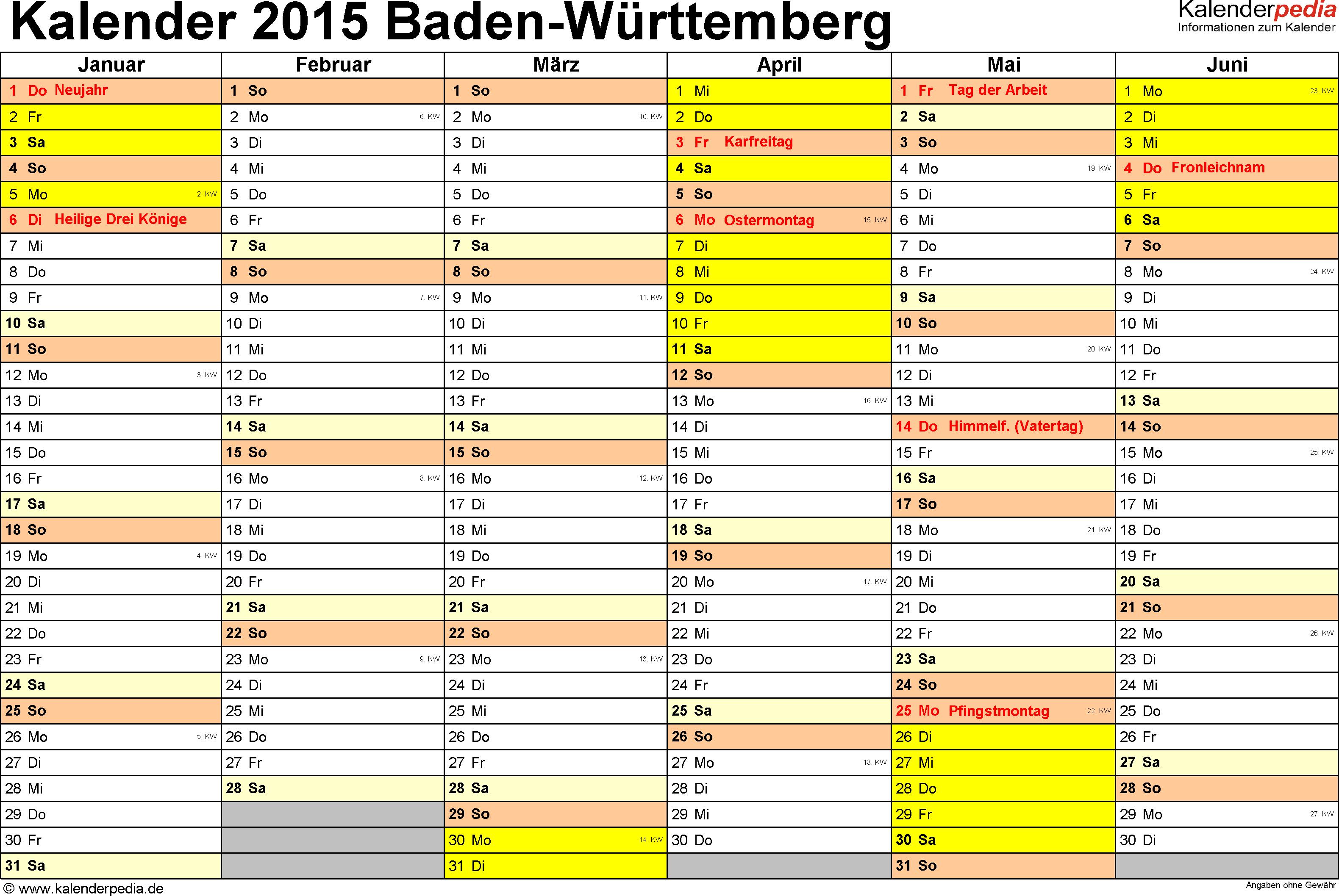 Vorlage 2: Kalender 2015 für Baden-Württemberg als PDF-Vorlage (Querformat, 2 Seiten)