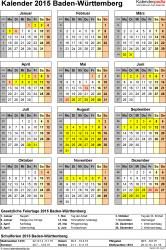 Vorlage 4: Kalender Baden-Württemberg 2015 als Excel-Vorlage (Hochformat)