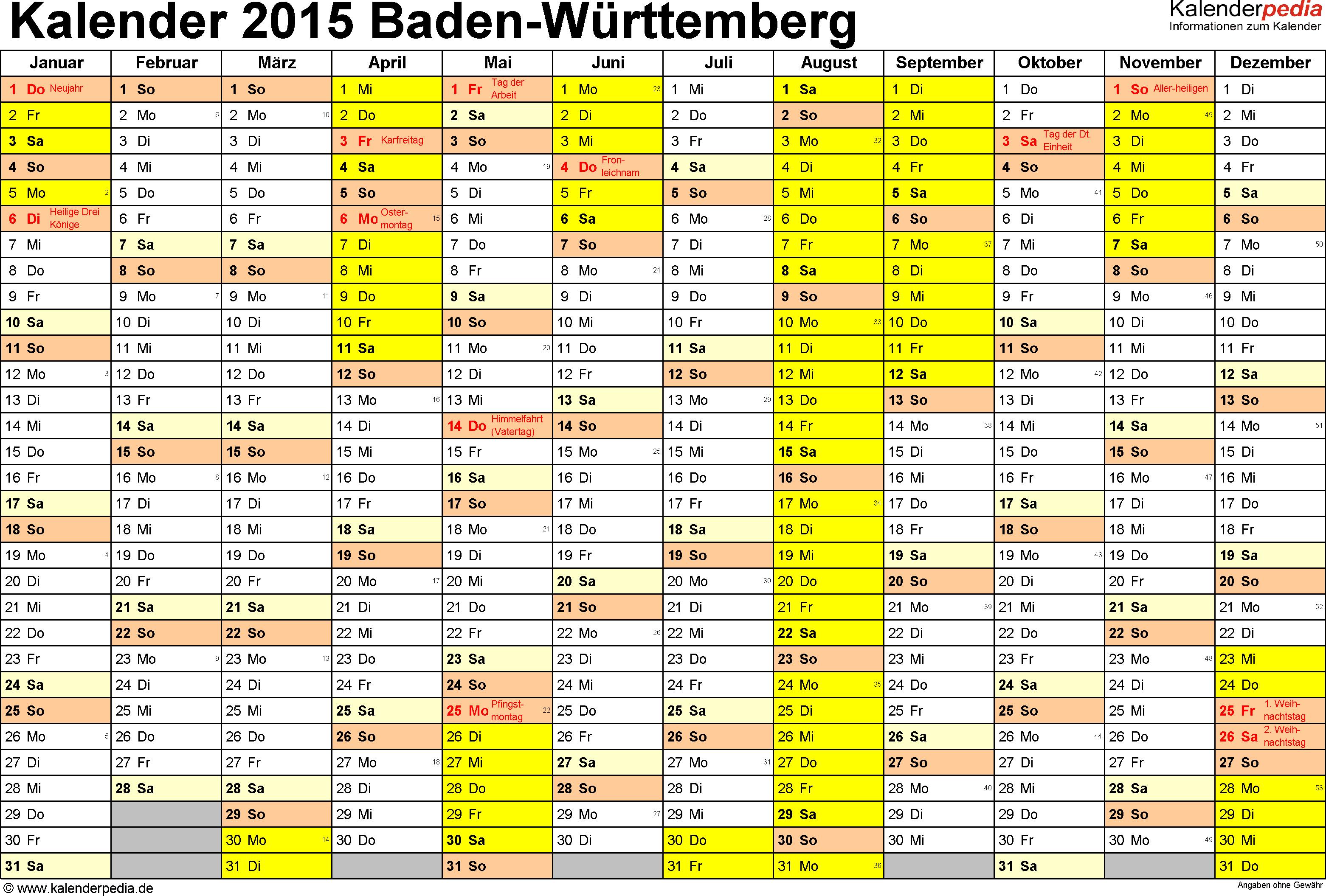 Vorlage 1: Kalender 2015 für Baden-Württemberg als PDF-Vorlage (Querformat, 1 Seite)