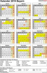 Vorlage 4: Kalender Bayern 2015 als Excel-Vorlage (Hochformat)