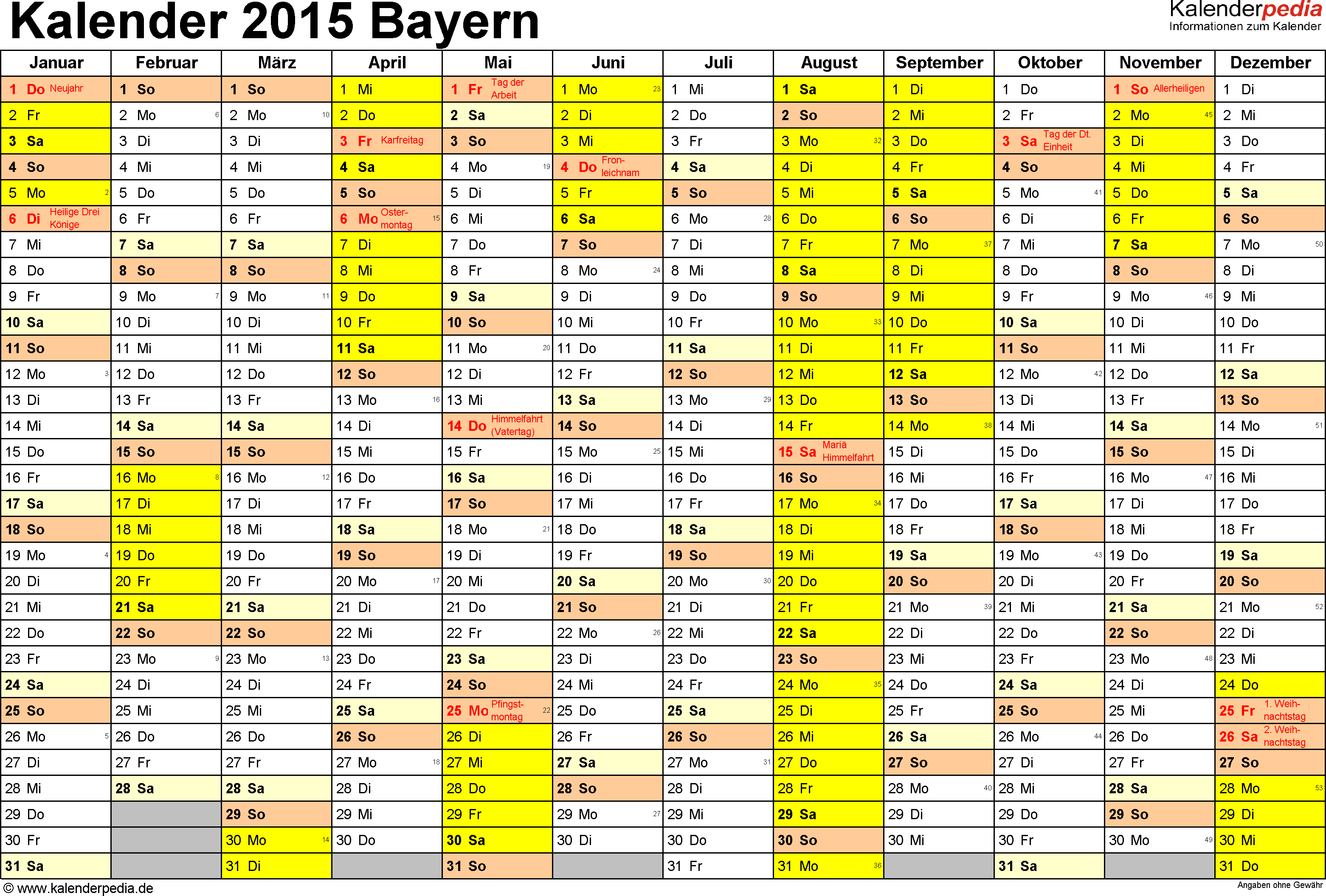 Vorlage 1: Kalender 2015 für Bayern als Excel-Vorlagen (Querformat, 1 Seite)