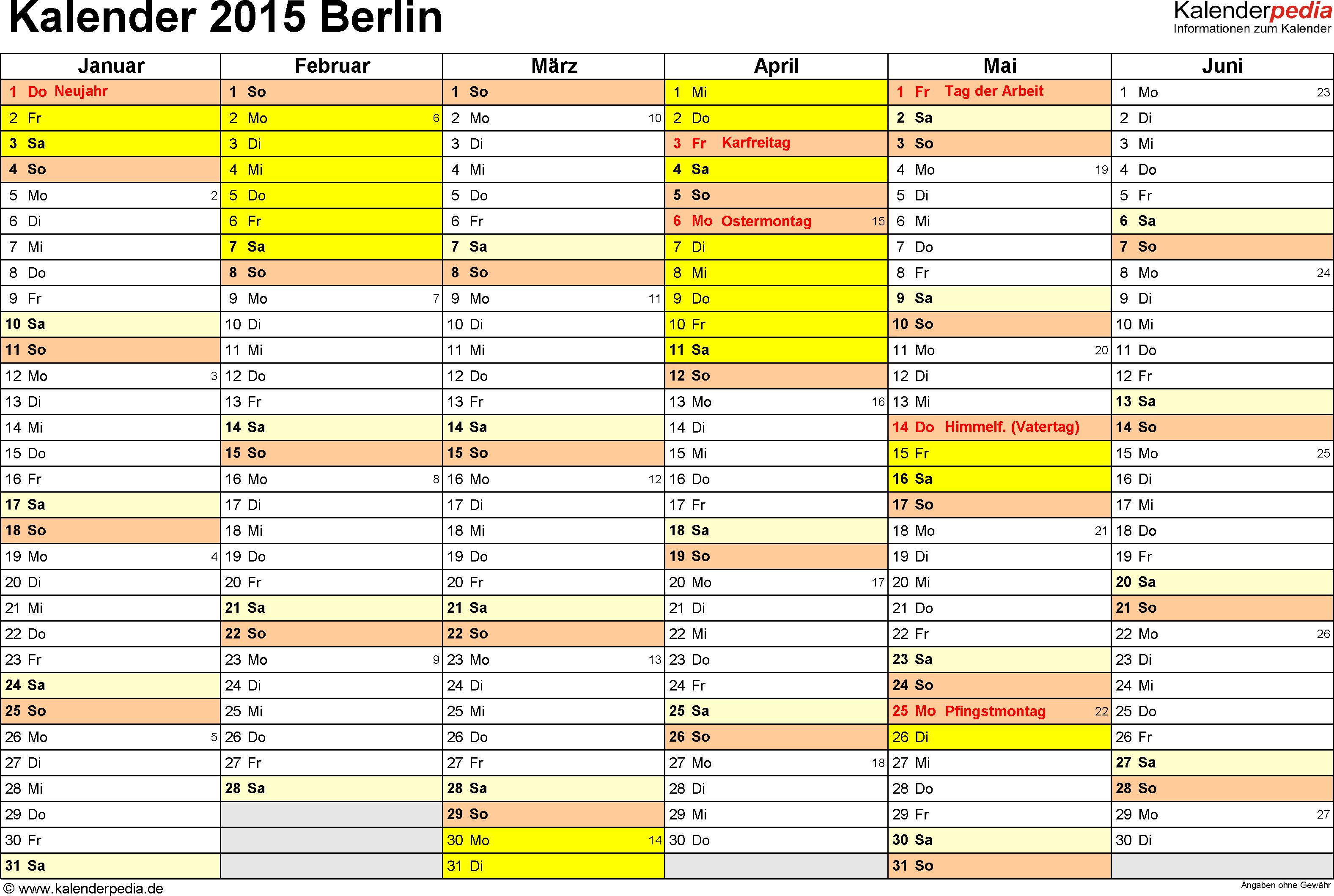 Vorlage 3: Kalender 2015 für Berlin als Excel-Vorlagen (Querformat, 2 Seiten)