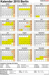 Vorlage 4: Kalender Berlin 2015 als Excel-Vorlage (Hochformat)