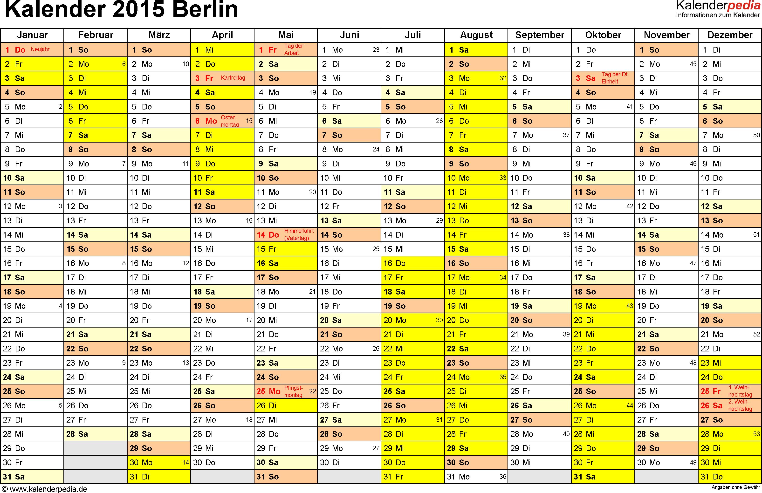 Vorlage 1: Kalender 2015 für Berlin als PDF-Vorlagen (Querformat, 1 Seite)