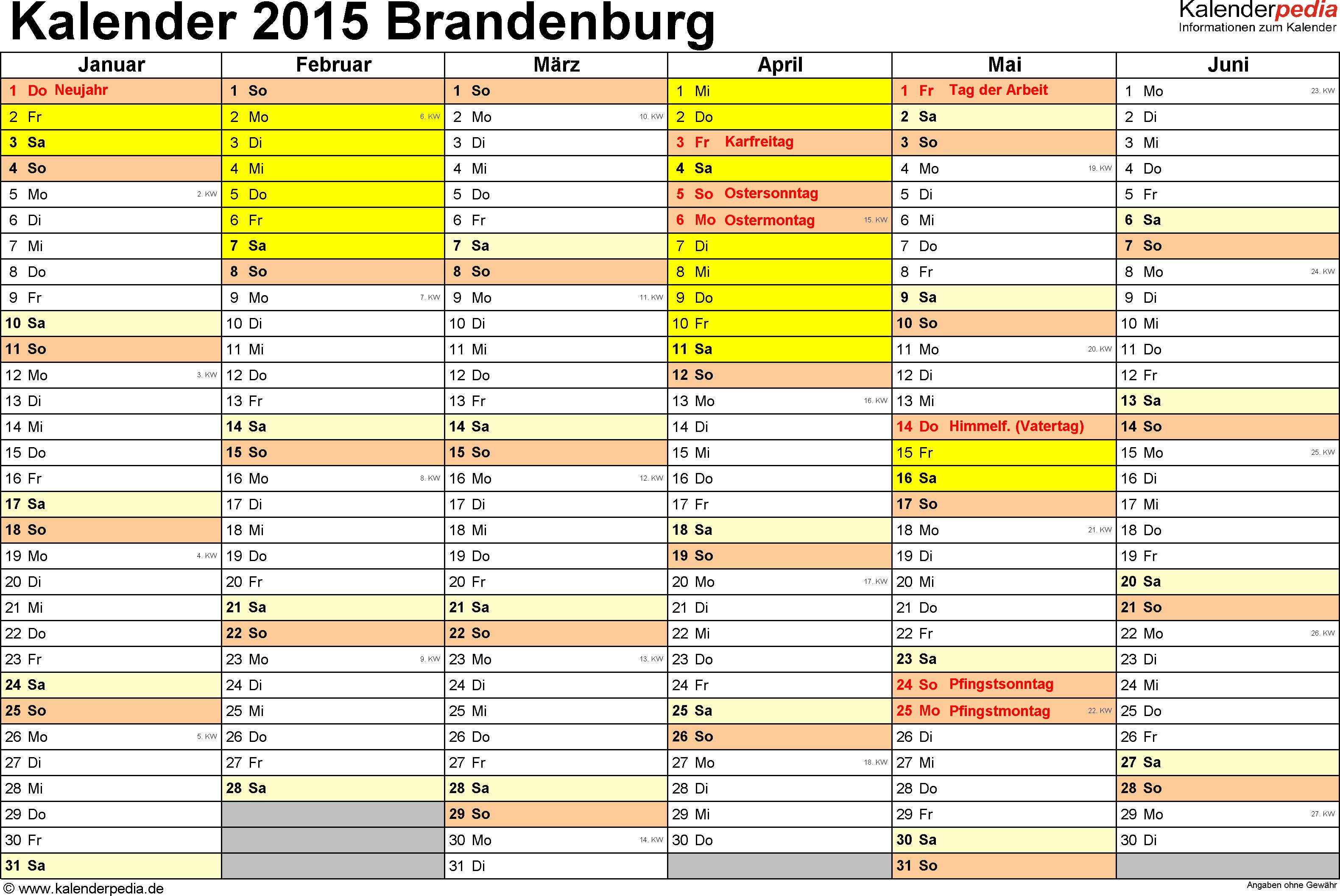 Vorlage 3: Kalender 2015 für Brandenburg als Excel-Vorlagen (Querformat, 2 Seiten)