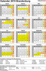 Vorlage 4: Kalender Brandenburg 2015 als Excel-Vorlage (Hochformat)