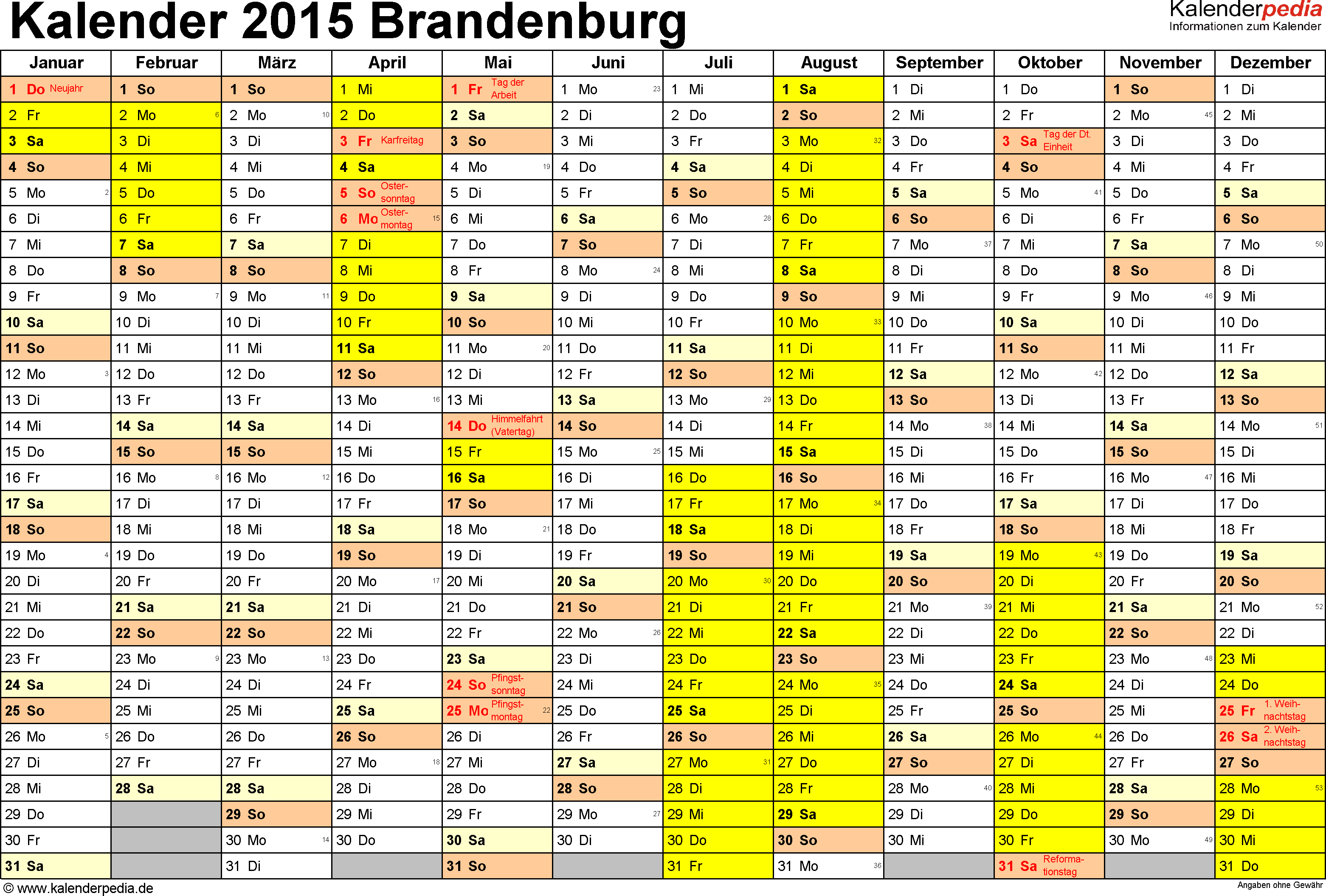 Vorlage 1: Kalender 2015 für Brandenburg als Excel-Vorlagen (Querformat, 1 Seite)