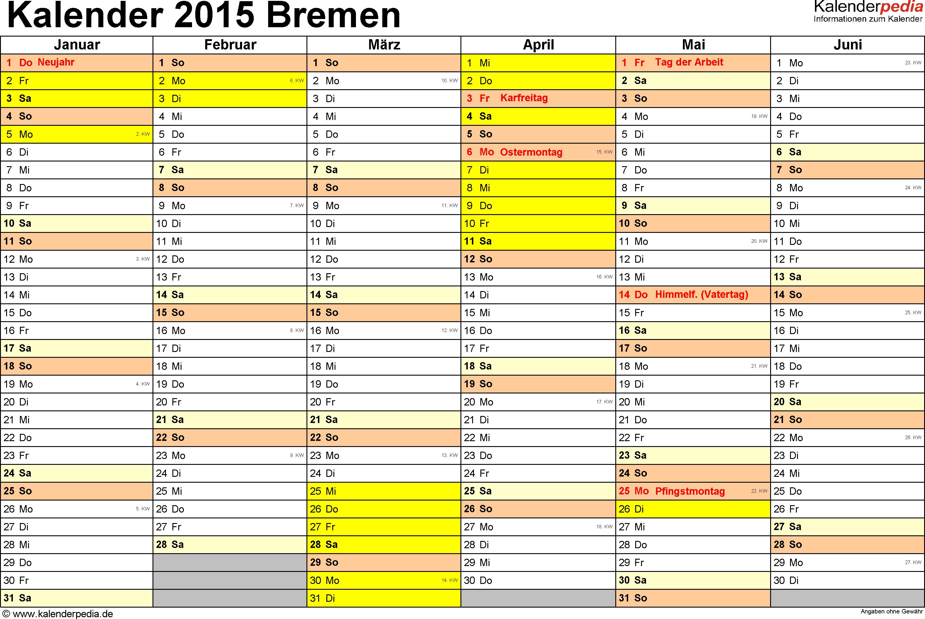 Vorlage 3: Kalender 2015 für Bremen als Excel-Vorlagen (Querformat, 2 Seiten)