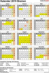 Vorlage 4: Kalender Bremen 2015 als Excel-Vorlage (Hochformat)