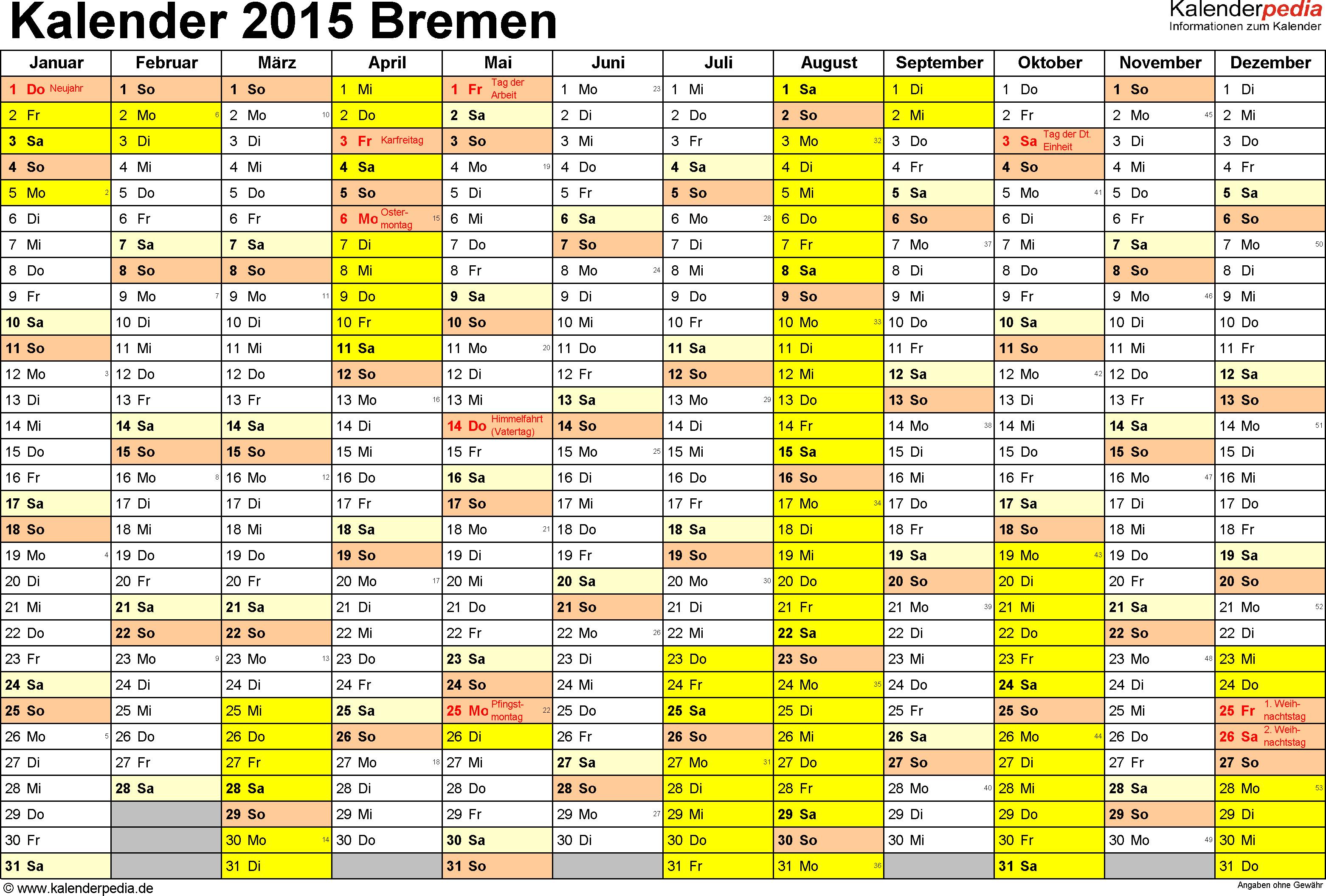 Vorlage 1: Kalender 2015 für Bremen als Excel-Vorlagen (Querformat, 1 Seite)