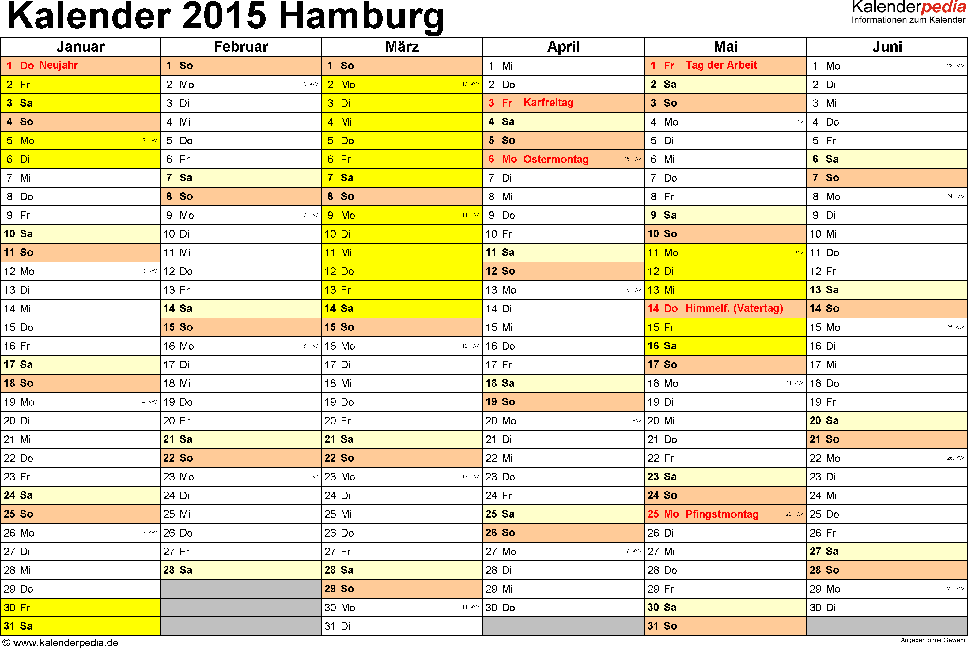 Vorlage 2: Kalender 2015 für Hamburg als Excel-Vorlage (Querformat, 2 Seiten)