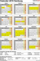 Vorlage 4: Kalender Hamburg 2015 als Excel-Vorlage (Hochformat)
