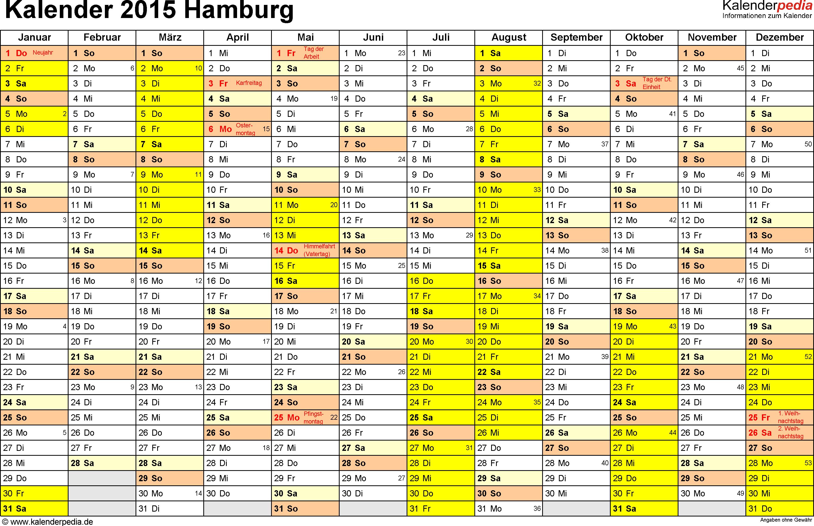 Vorlage 1: Kalender 2015 für Hamburg als Excel-Vorlage (Querformat, 1 Seite)