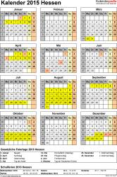 Vorlage 4: Kalender Hessen 2015 als Excel-Vorlage (Hochformat)