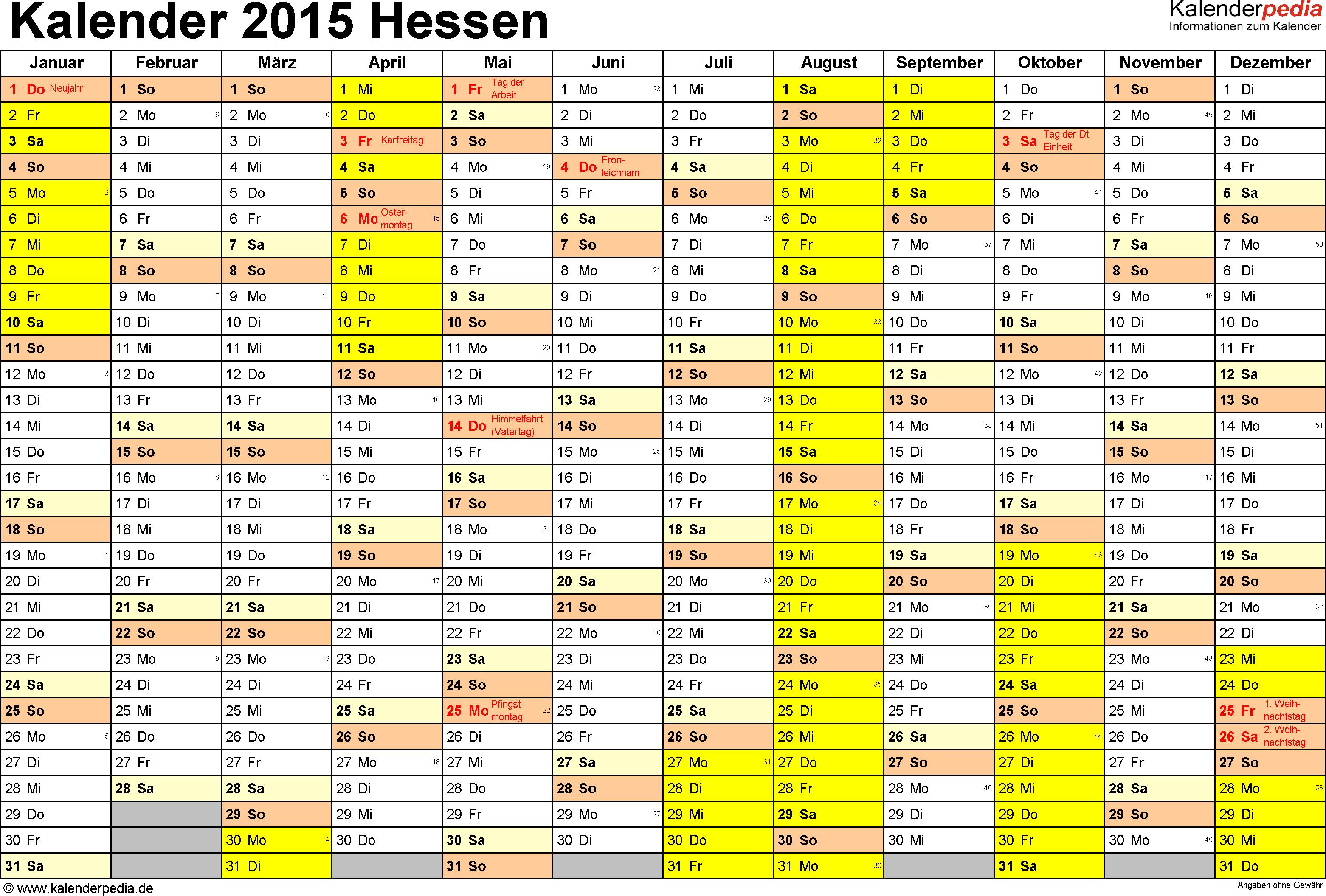Vorlage 1: Kalender 2015 für Hessen als PDF-Vorlage (Querformat, 1 Seite)