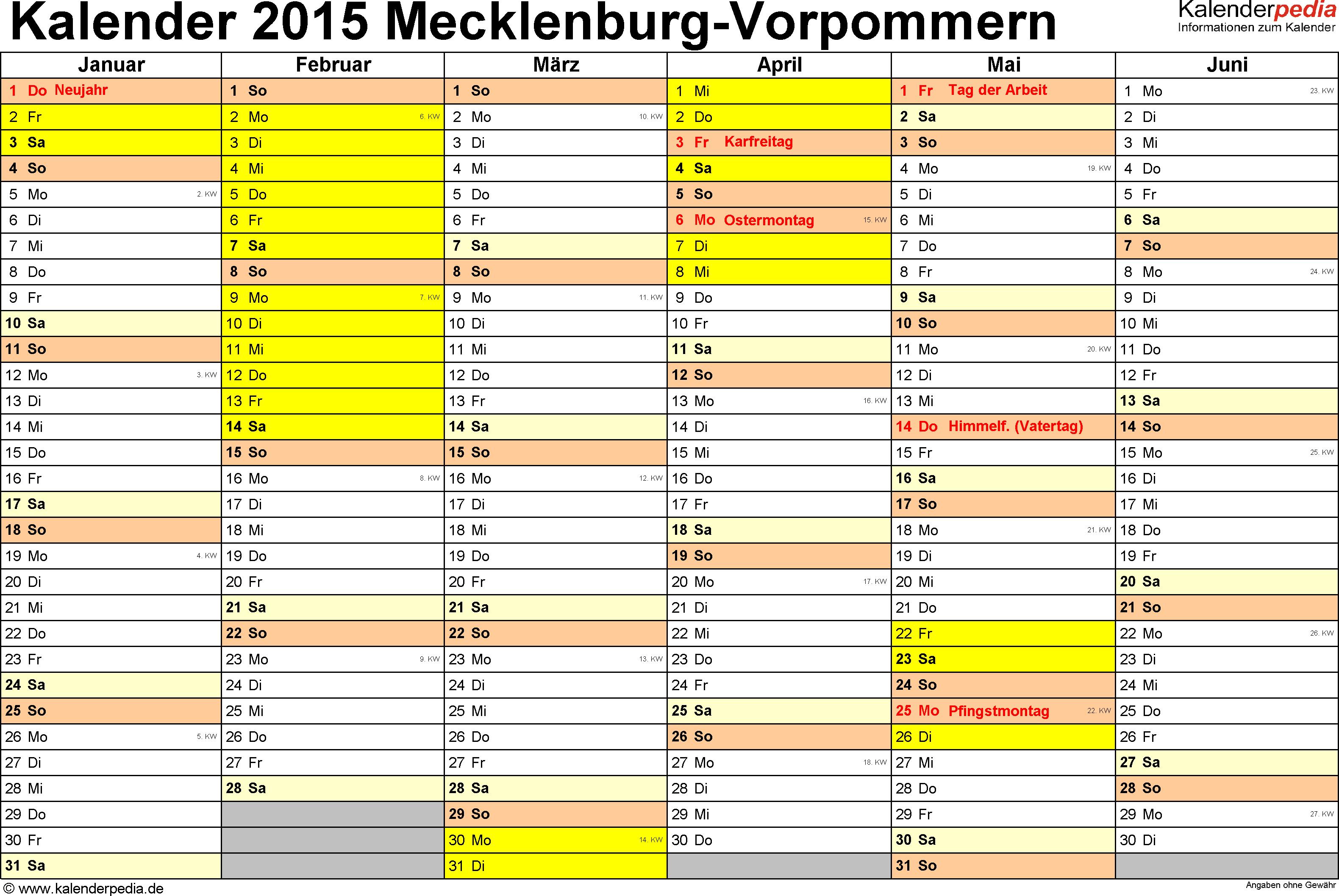Vorlage 2: Kalender 2015 für Mecklenburg-Vorpommern als Excel-Vorlage (Querformat, 2 Seiten)