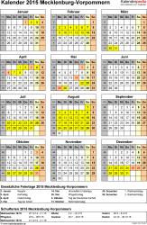 Vorlage 4: Kalender Mecklenburg-Vorpommern 2015 als Excel-Vorlage (Hochformat)