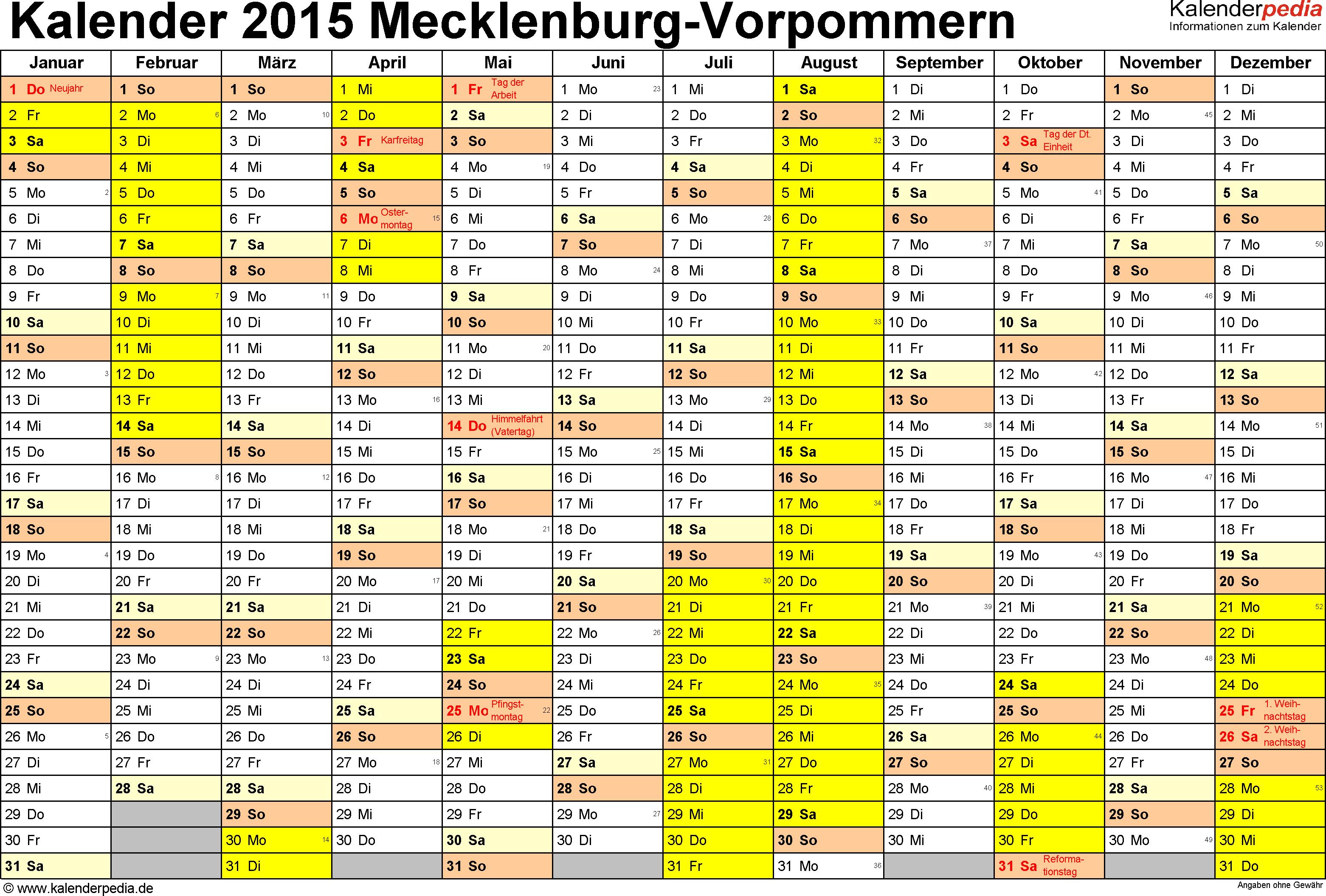 Vorlage 1: Kalender 2015 für Mecklenburg-Vorpommern als Excel-Vorlagen (Querformat, 1 Seite)