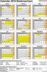 Vorlage 4: Kalender Niedersachsen 2015 als Excel-Vorlage (Hochformat)