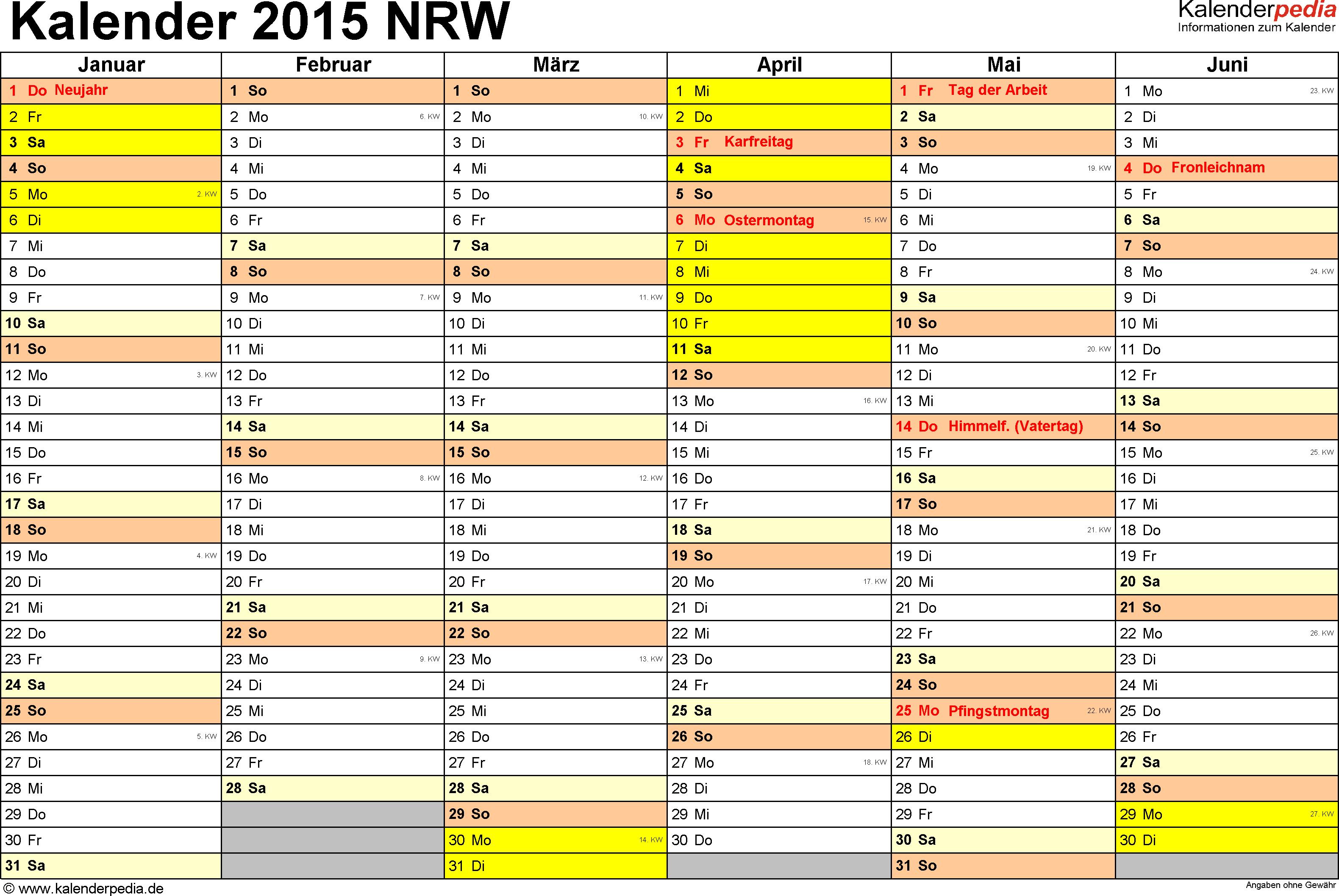 Vorlage 2: Kalender 2015 für Nordrhein-Westfalen (NRW) als PDF-Vorlage (Querformat, 2 Seiten)