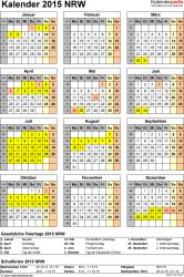 Vorlage 4: Kalender NRW 2015 als Excel-Vorlage (Hochformat)
